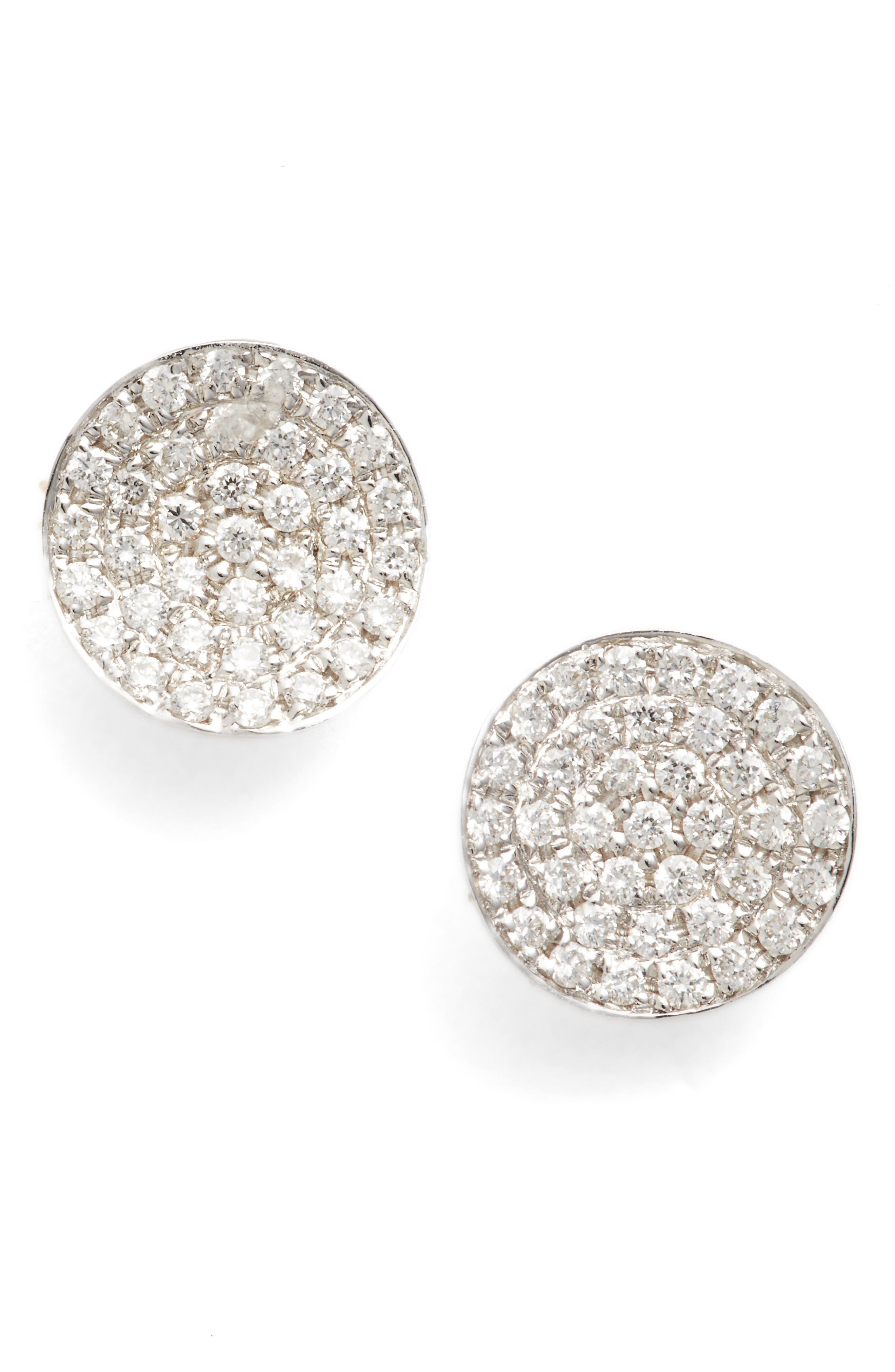 Aurelia Diamond Concave Stud Earrings,                         Main,                         color, White Gold