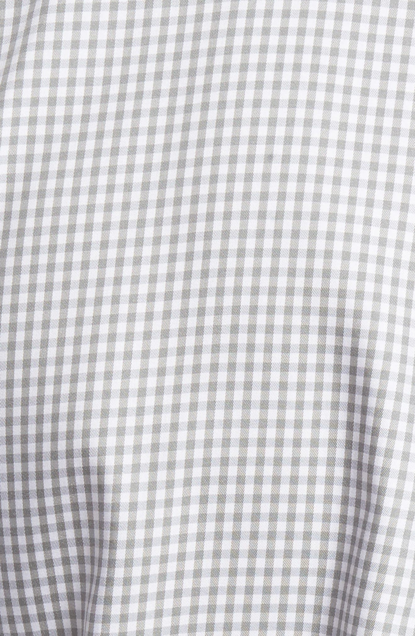 Crown Soft Gingham Regular Fit Sport Shirt,                             Alternate thumbnail 5, color,                             Light Grey