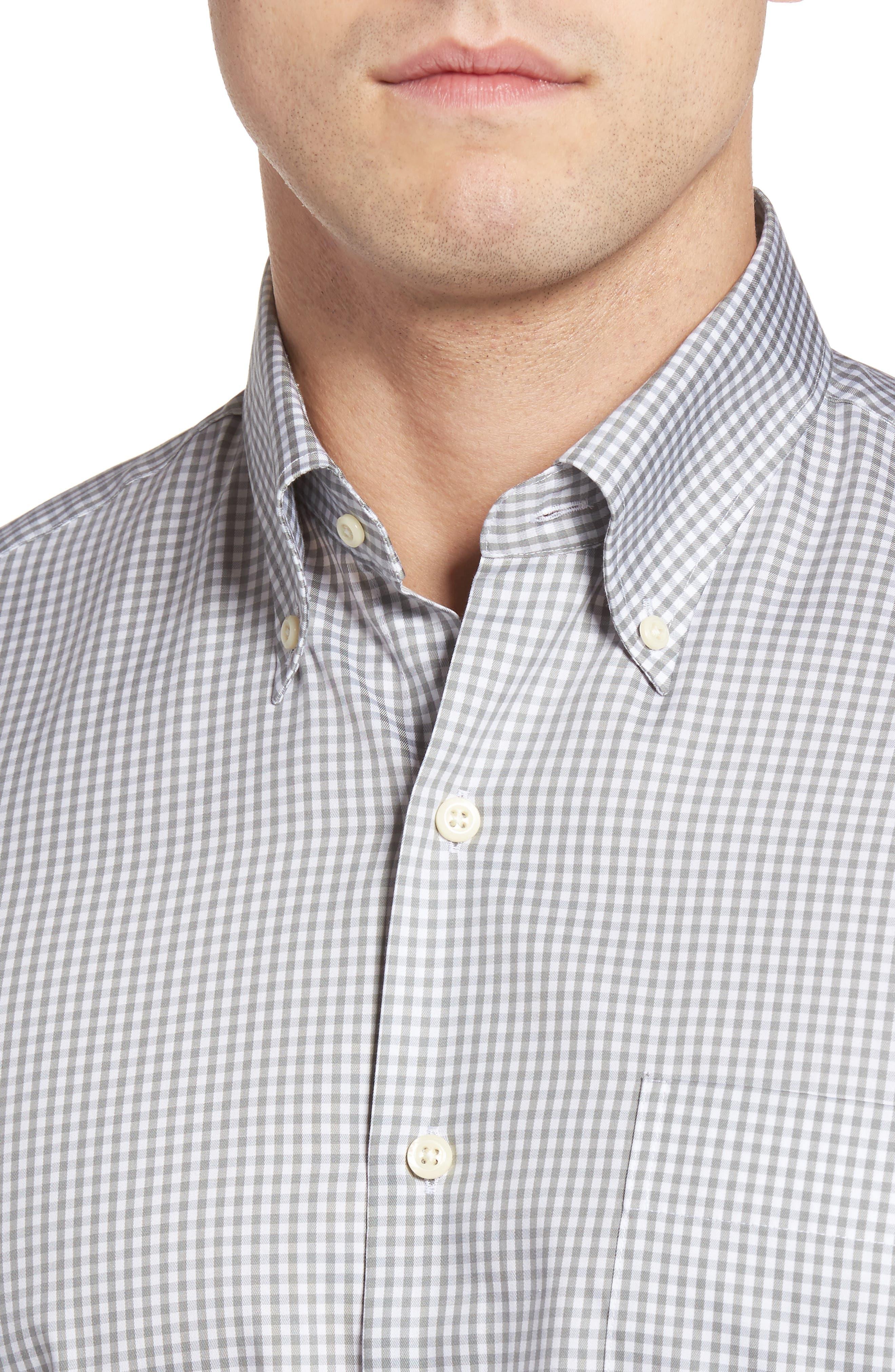 Crown Soft Gingham Regular Fit Sport Shirt,                             Alternate thumbnail 4, color,                             Light Grey