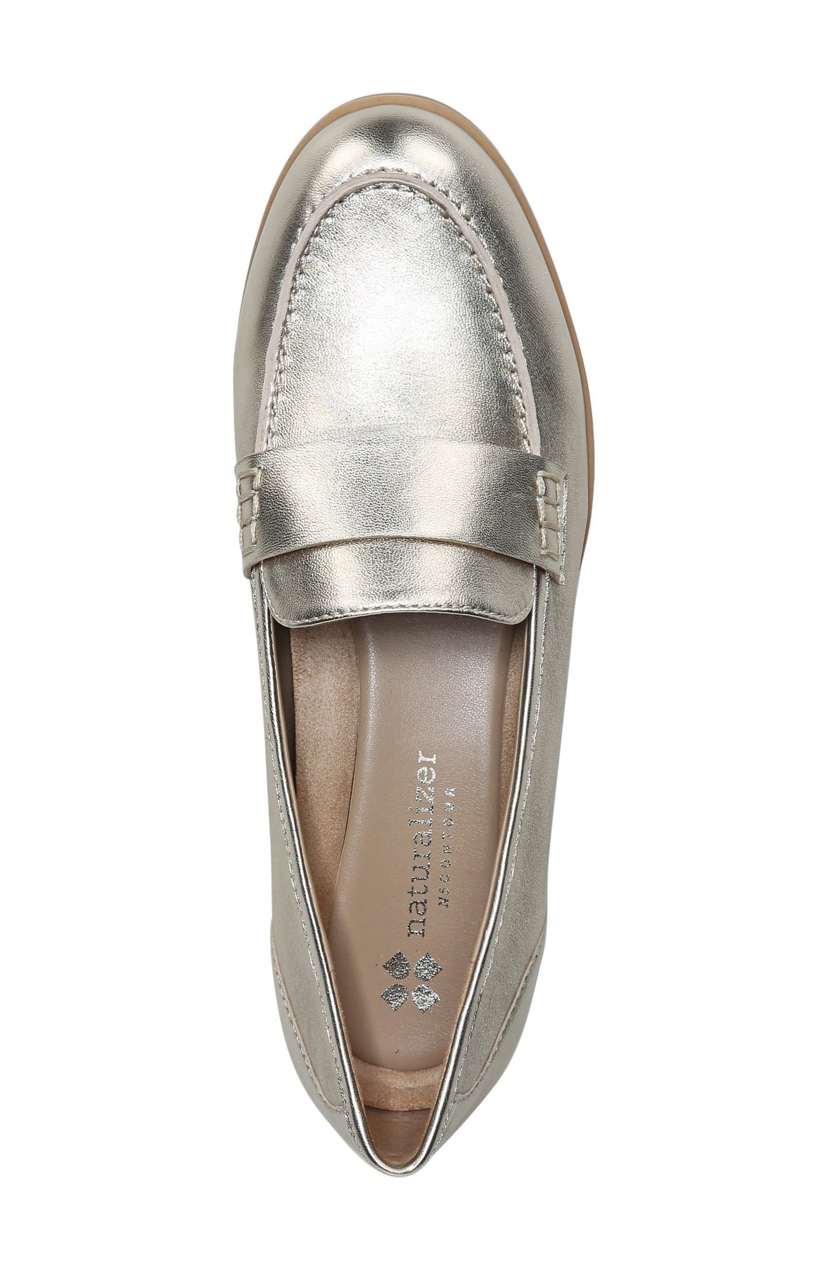 Veronica Loafer,                             Alternate thumbnail 3, color,                             Platina Leather