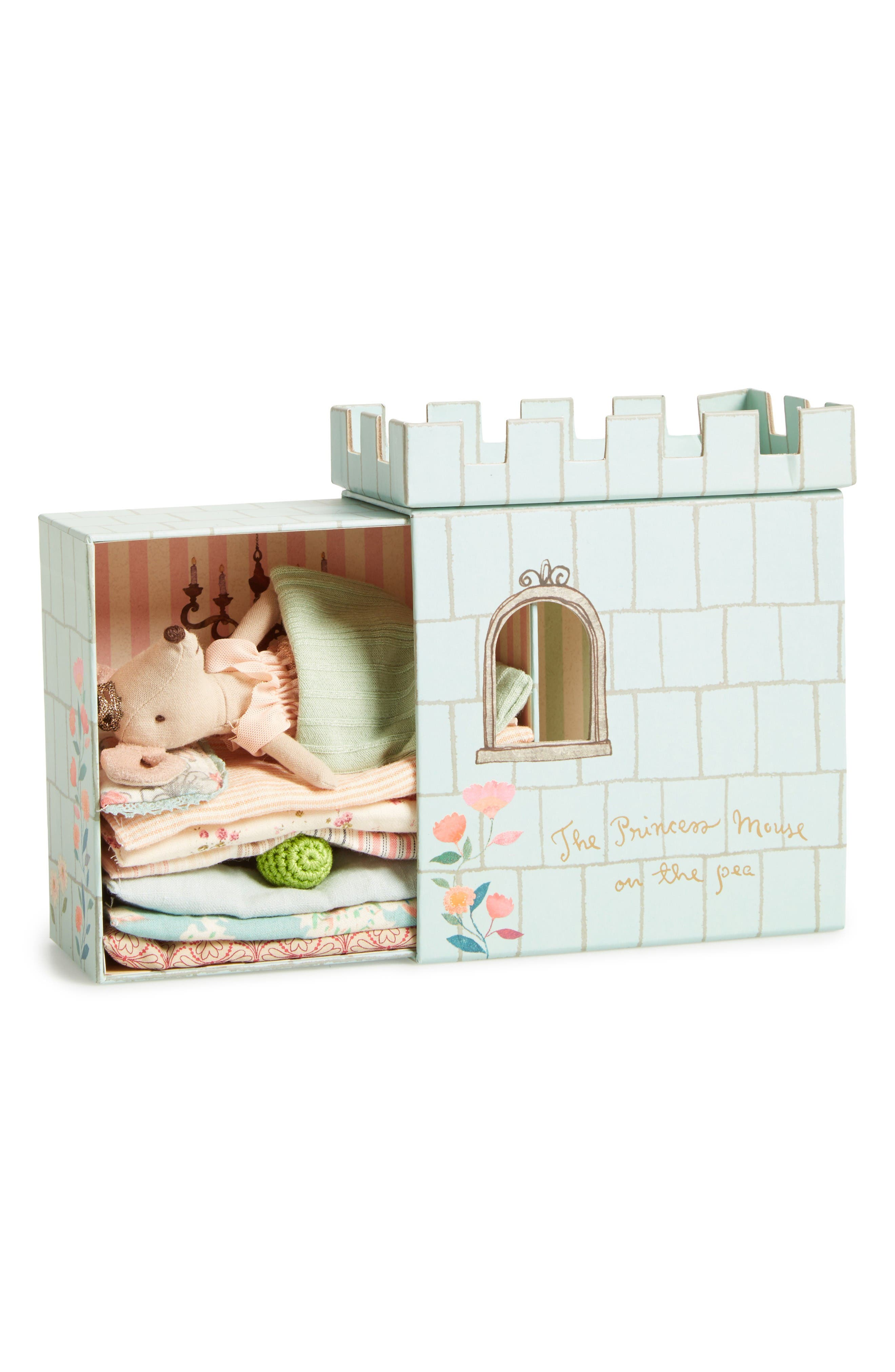 Maileg Princess & The Pea Stuffed Mouse and Playset