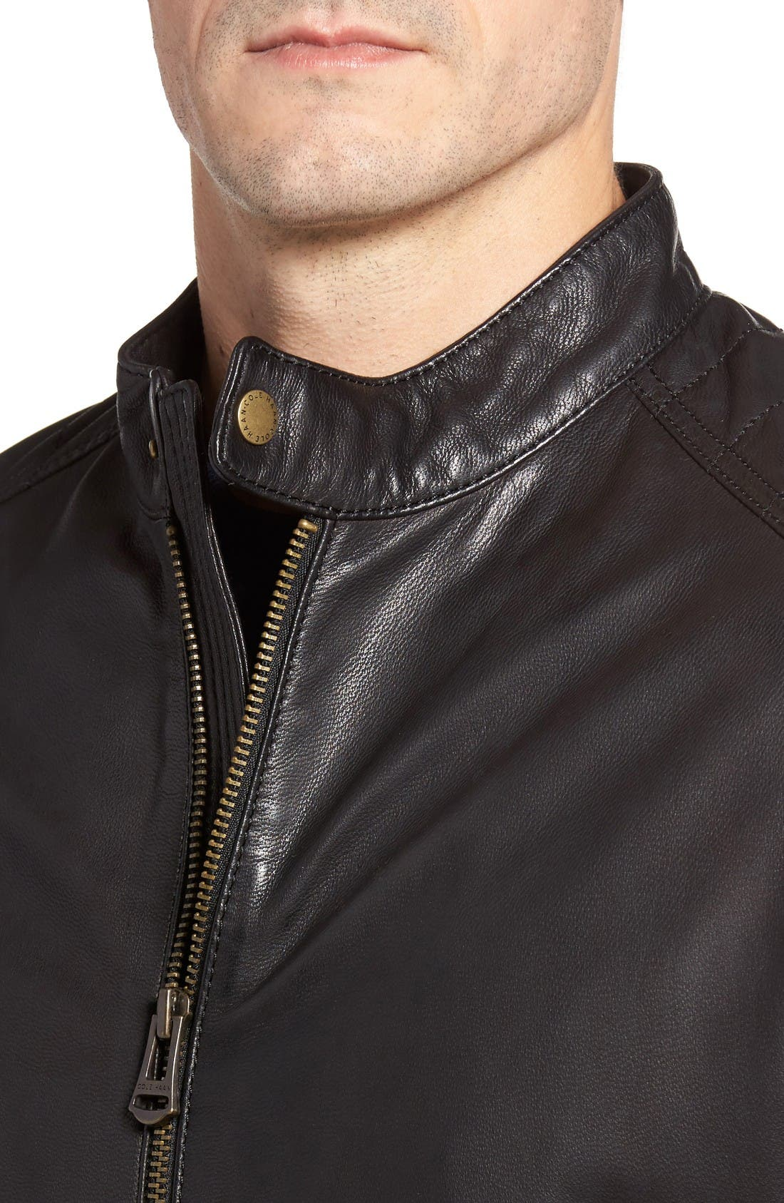 Alternate Image 4  - Cole Haan Washed Leather Moto Jacket