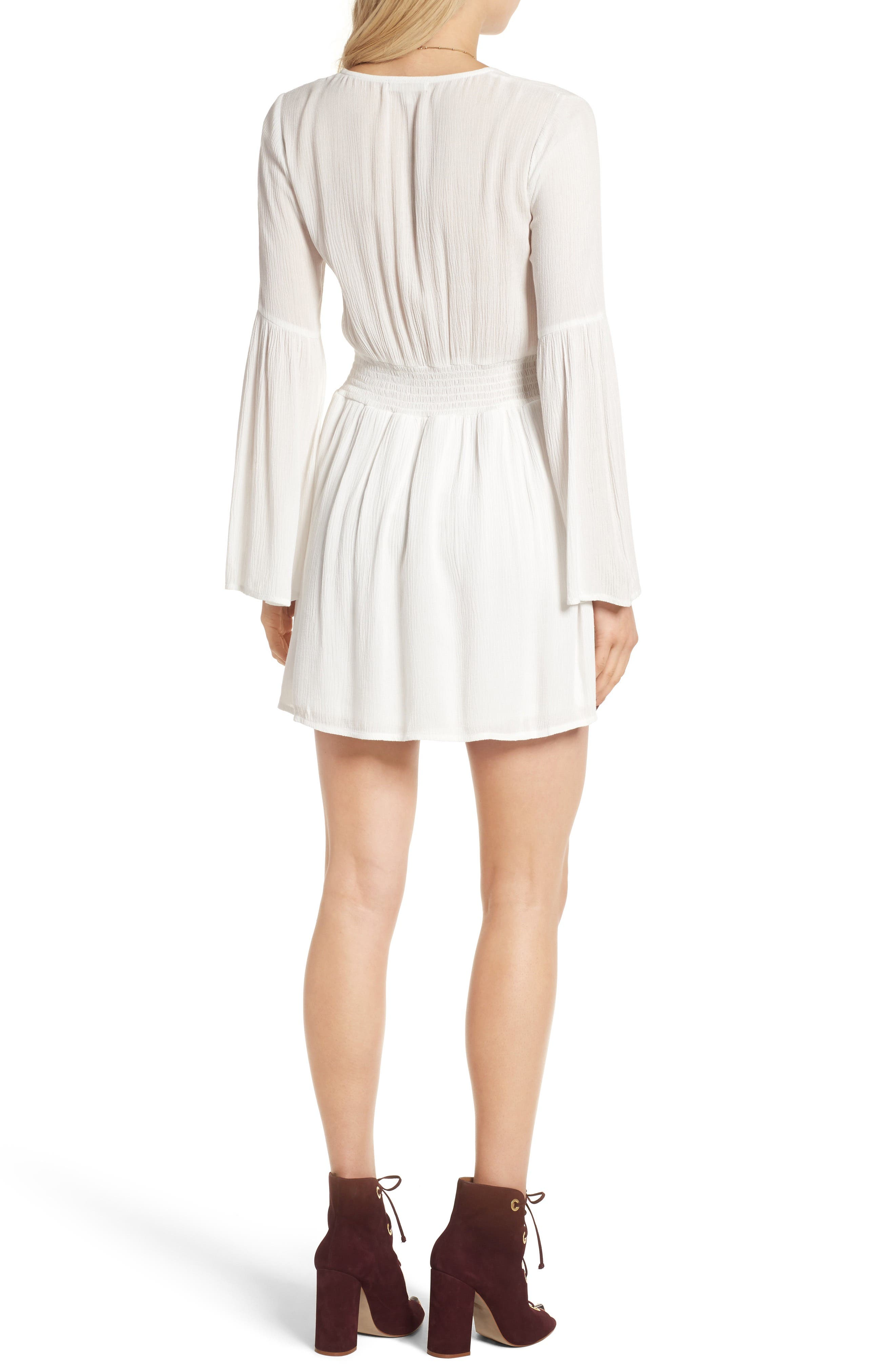 Surplice Bell Sleeve Dress,                             Alternate thumbnail 2, color,                             Ivory
