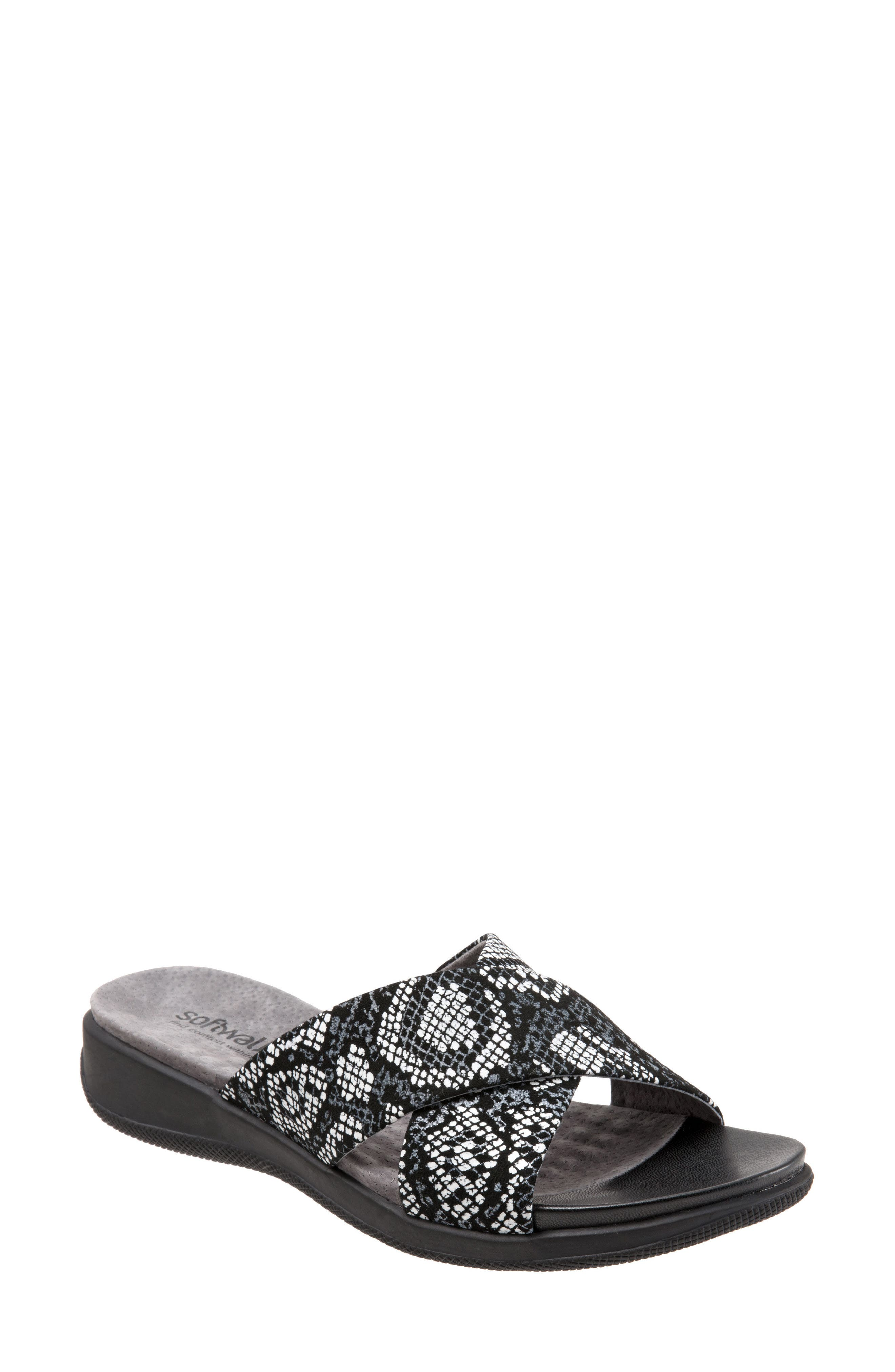 'Tillman' Leather Cross Strap Slide Sandal,                         Main,                         color, Black Leather