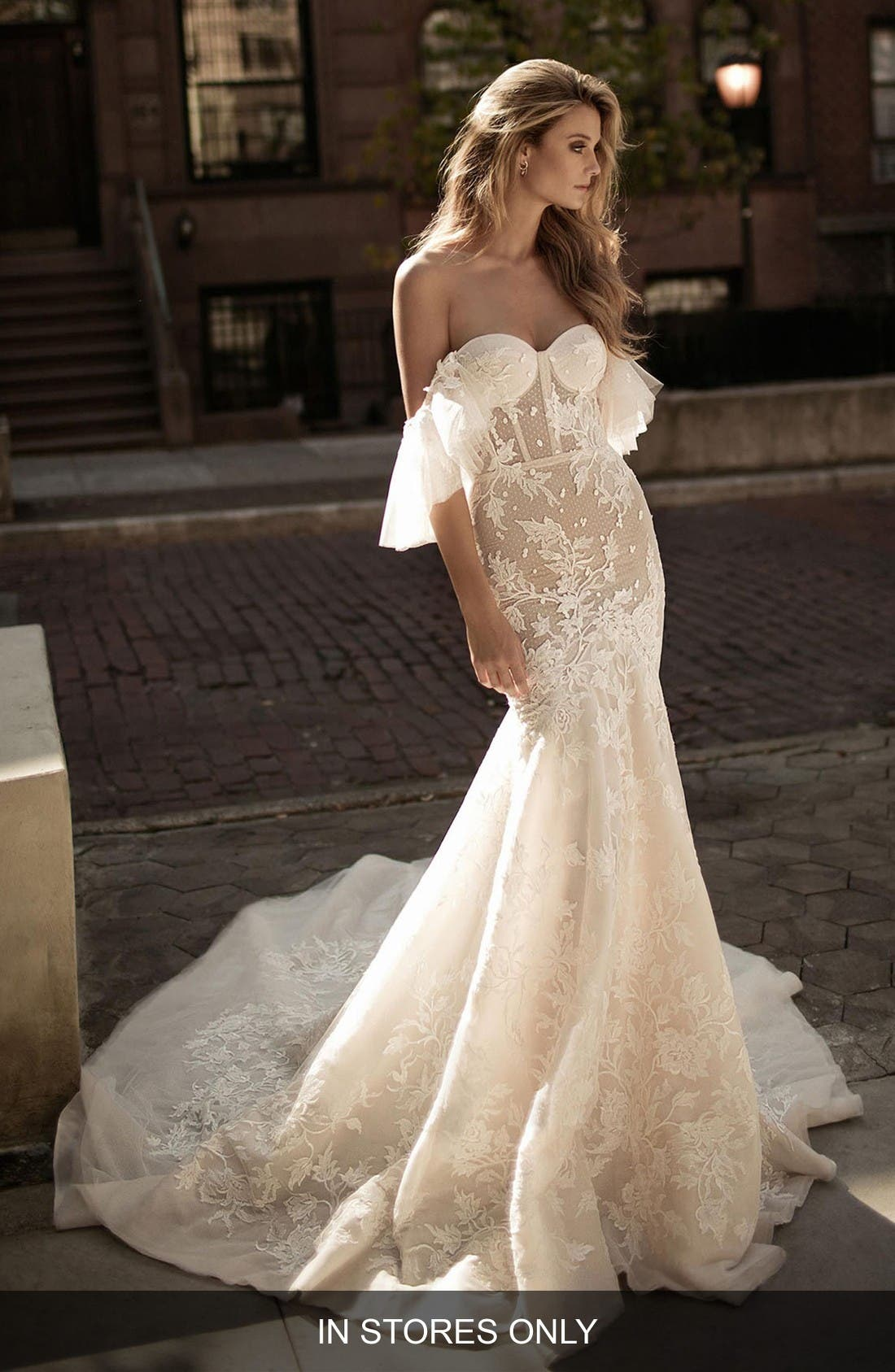 Alternate Image 1 Selected - Berta Off the Shoulder Mermaid Gown (In Stores Only)