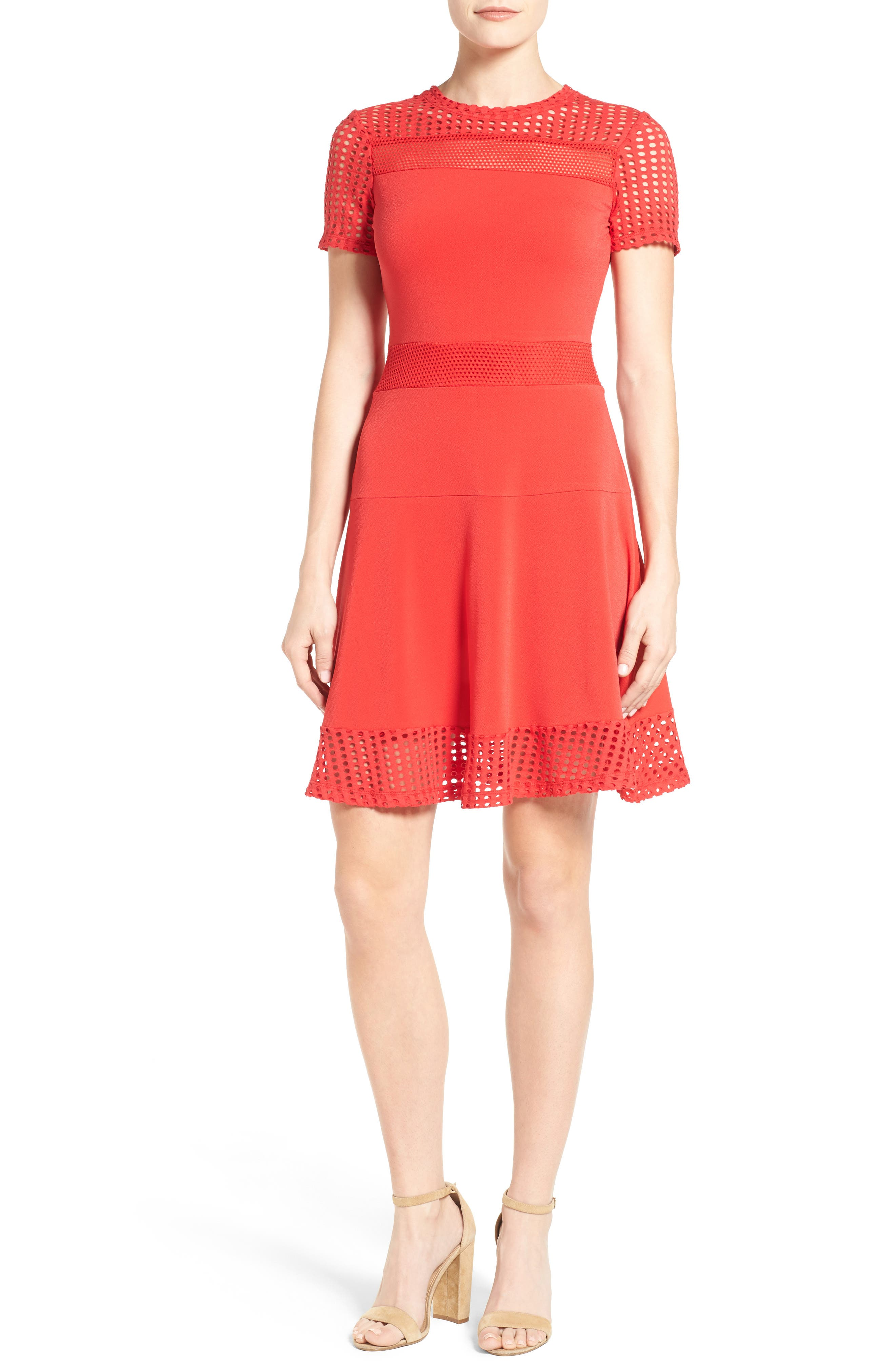Mesh Combo Fit & Flare Dress,                             Main thumbnail 1, color,                             True Red