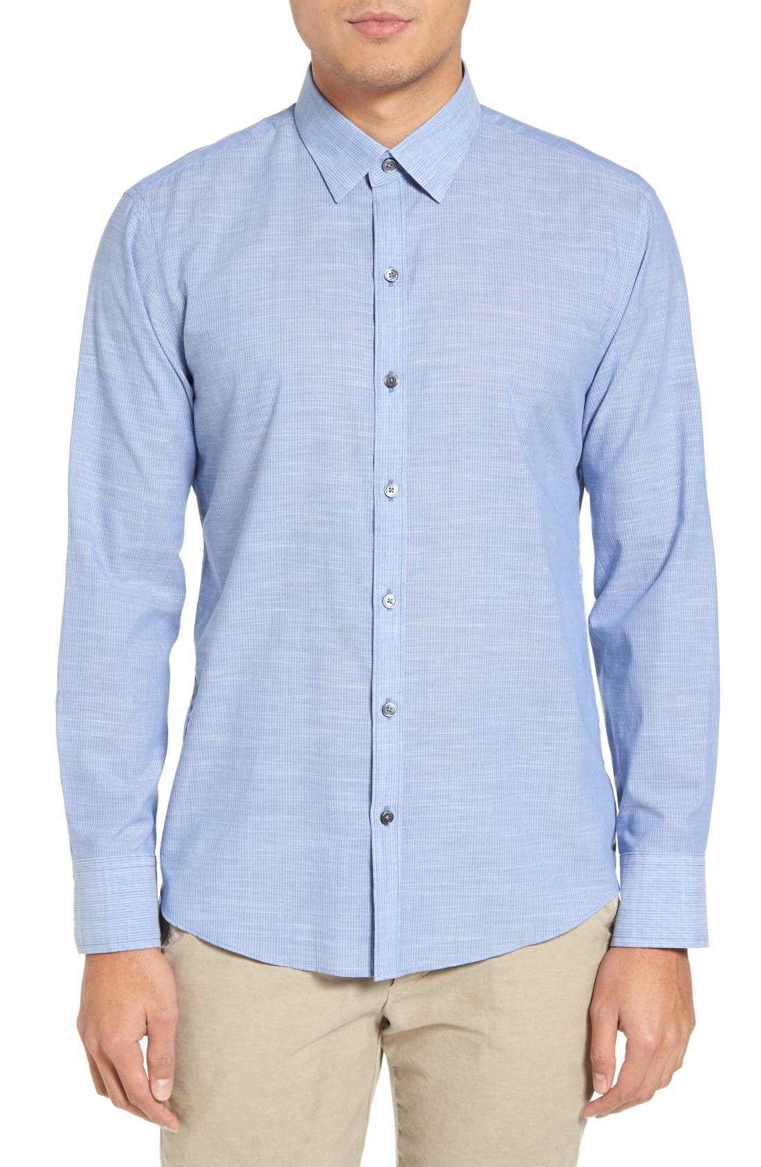 Ronan Trim Fit Stripe Sport Shirt,                         Main,                         color, Blue