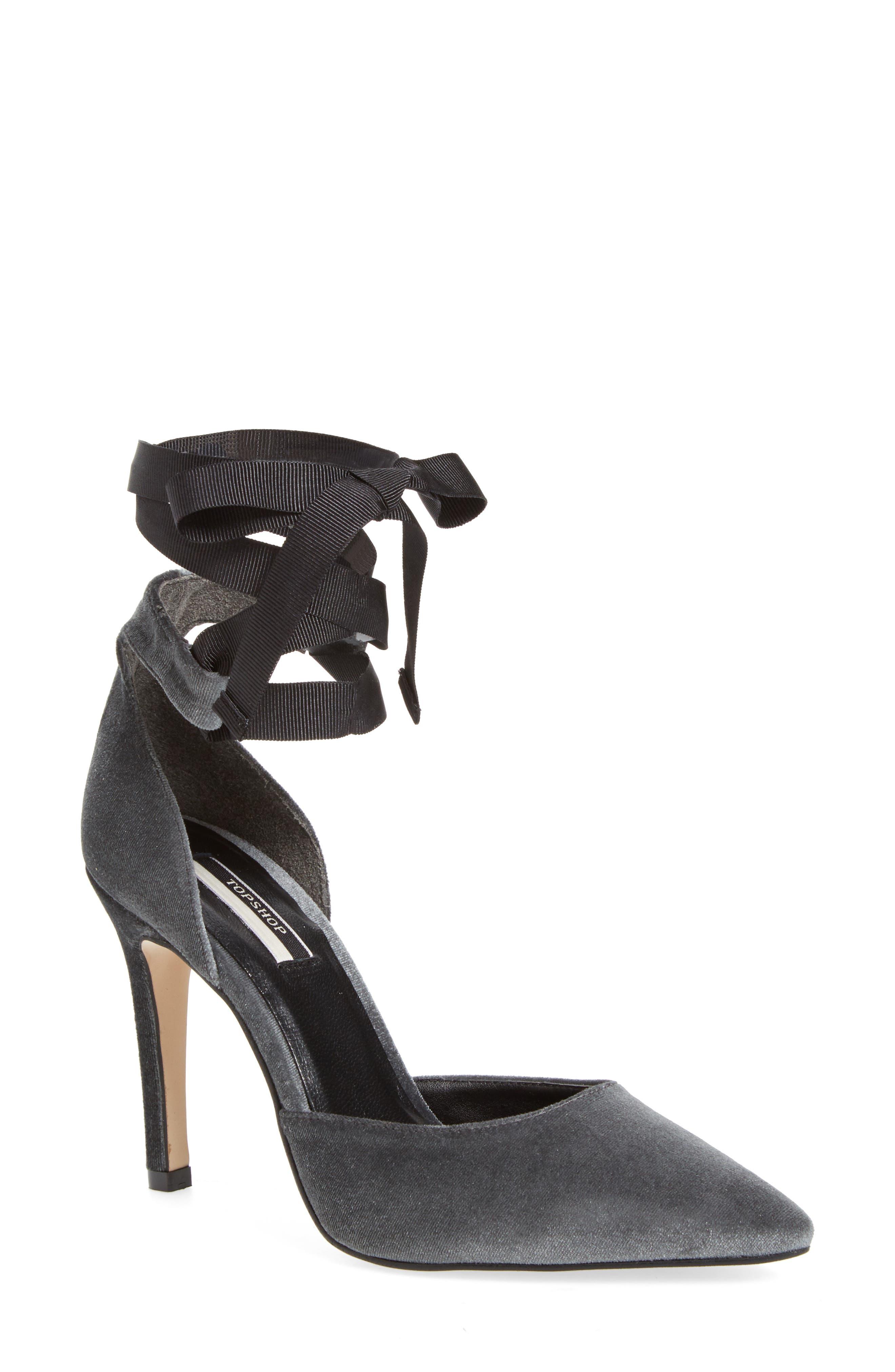Topshop Graceful Ankle Tie d'Orsay Pump (Women)