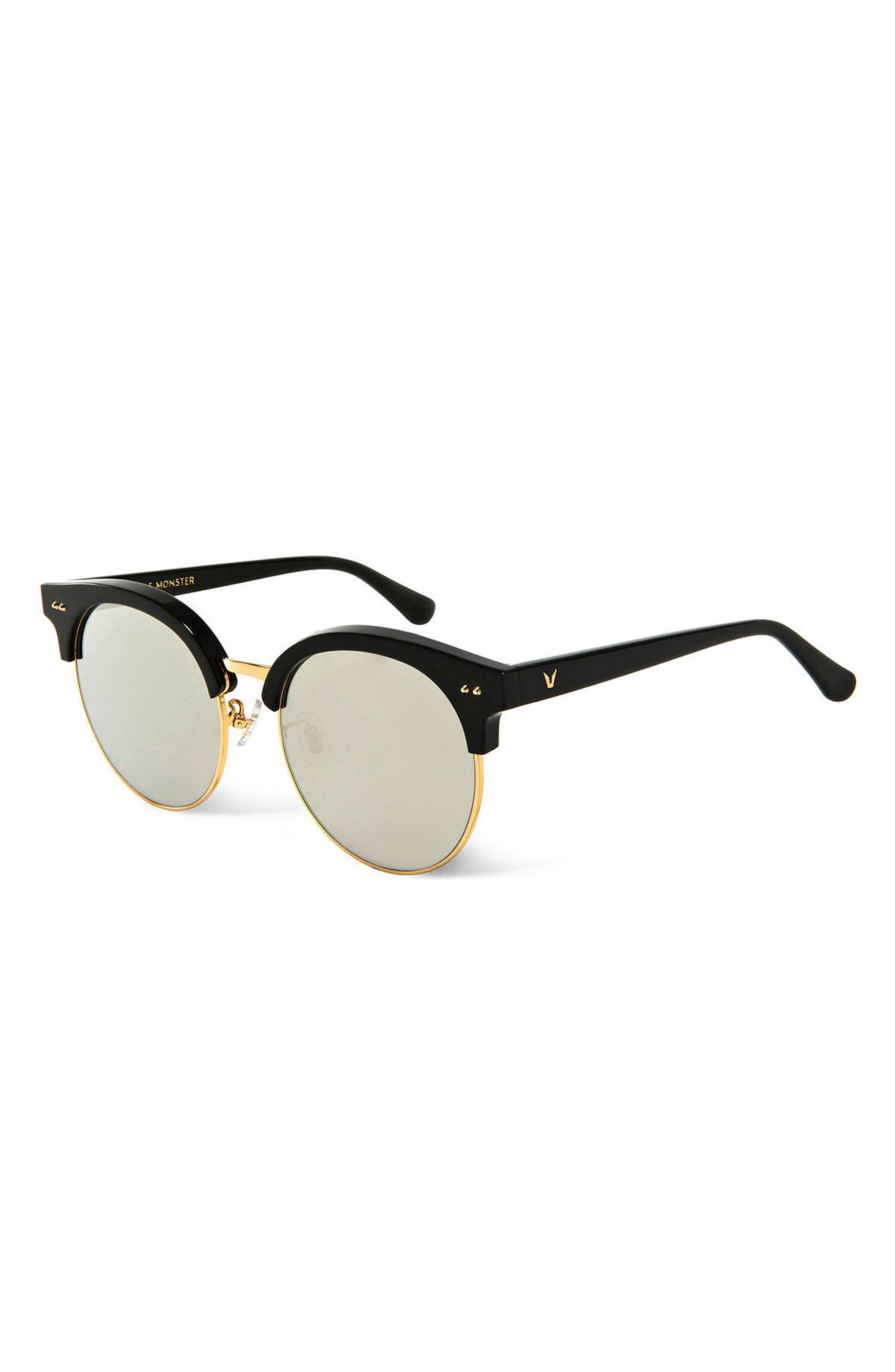 Moon Cut 55mm Sunglasses,                             Alternate thumbnail 2, color,                             Black/Gold