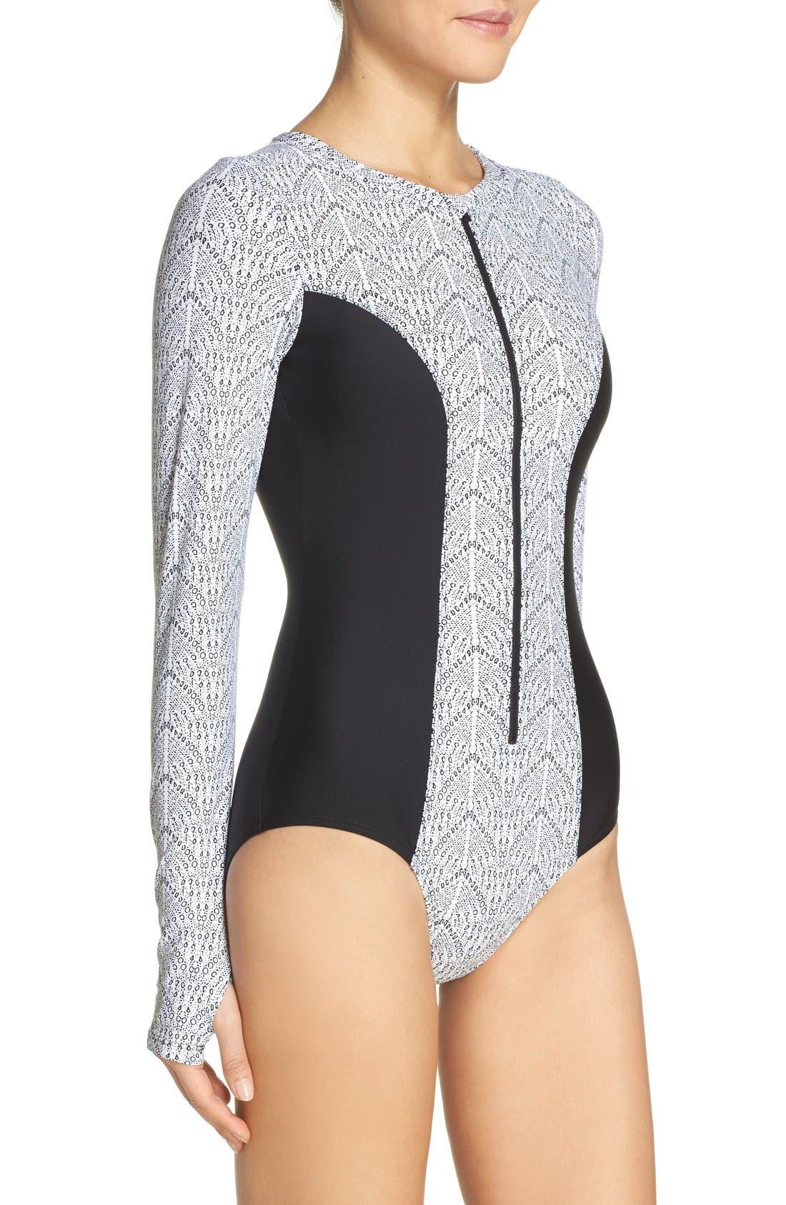 Long Sleeve One-Piece Swimsuit,                             Alternate thumbnail 3, color,                             Geo/ Black