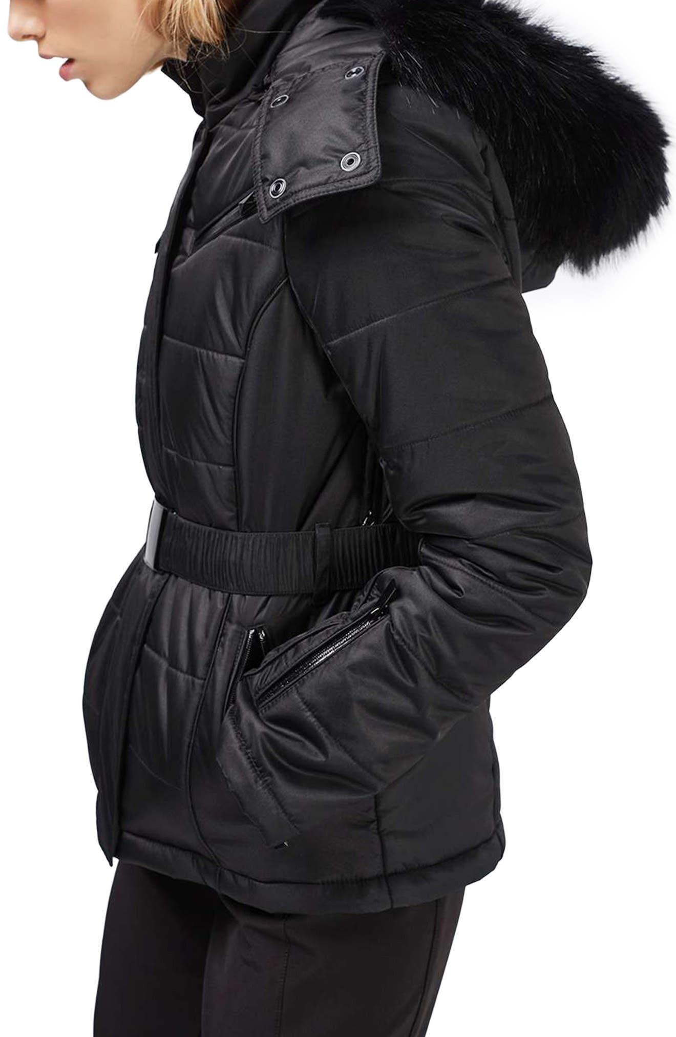 Alternate Image 4  - Topshop Bowie Faux Fur Trim Ski Jacket