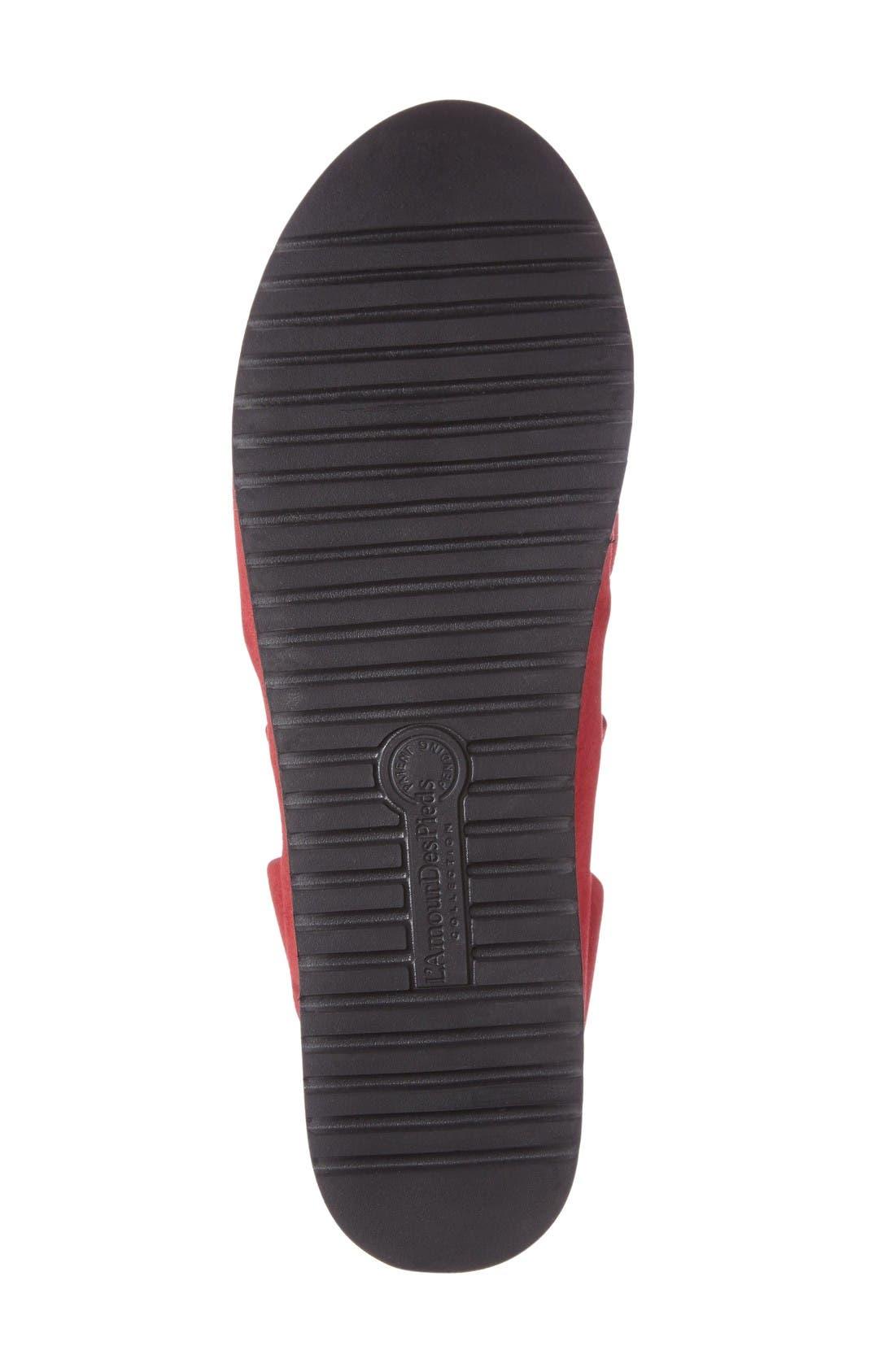 Adelais Platform Wedge Sandal,                             Alternate thumbnail 4, color,                             Red Nubuck Leather