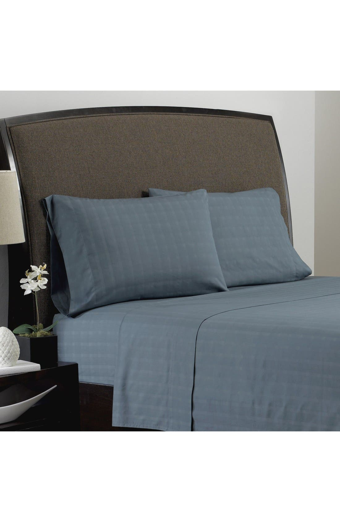 Dobby Plaid Organic Cotton Flat Sheet,                         Main,                         color, Blue Mirage
