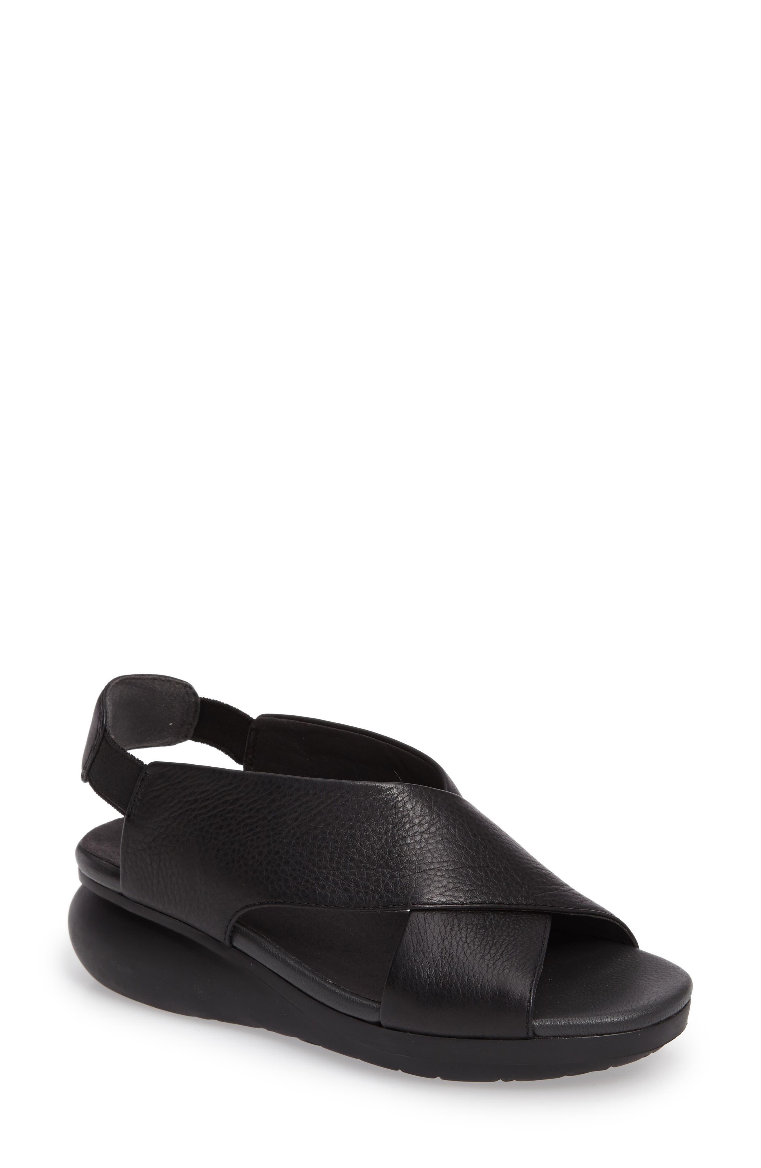 Balloon Slingback Wedge Sandal,                             Main thumbnail 1, color,                             Black Leather