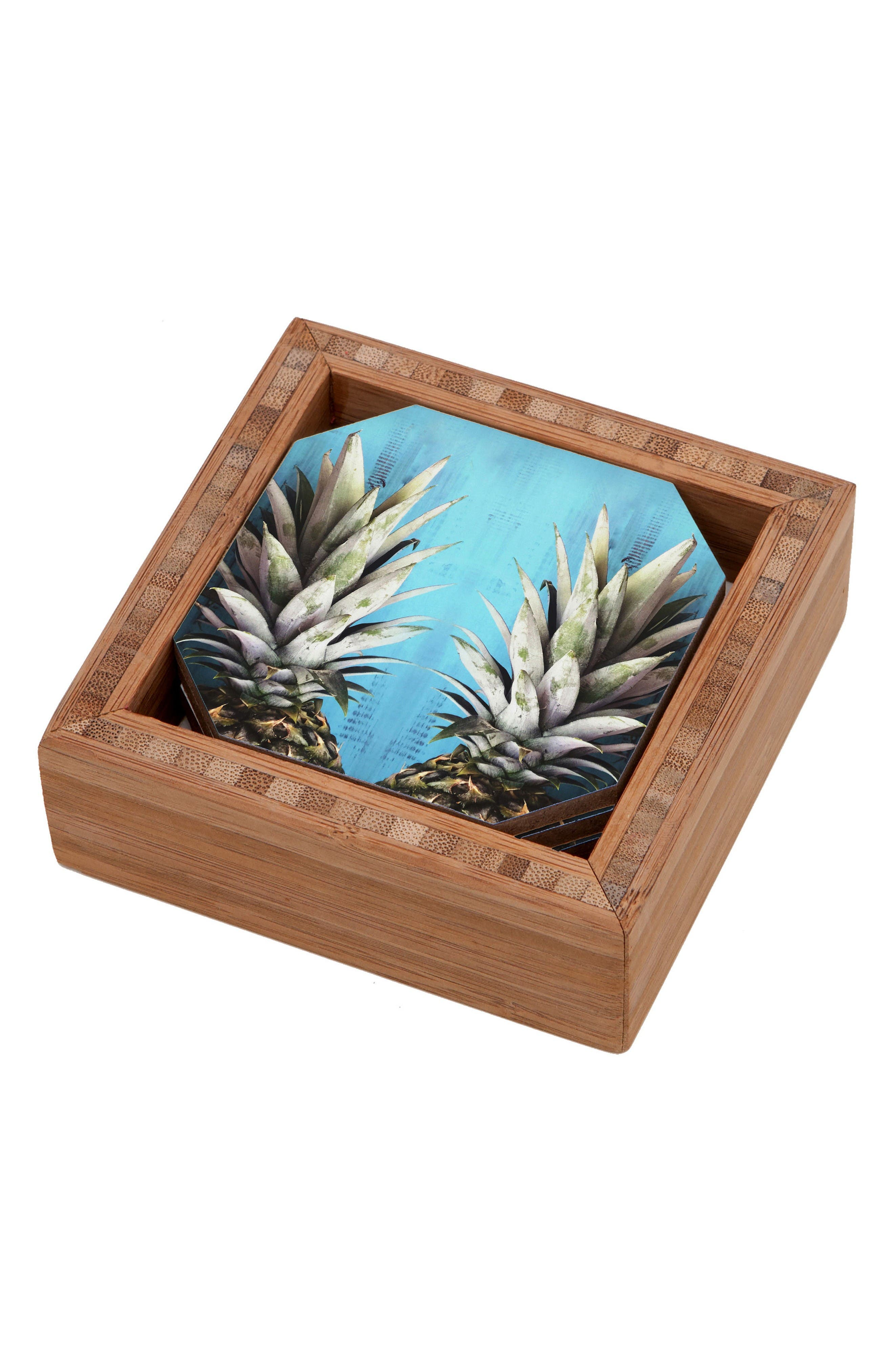 How About Them Pineapples Coaster Set of 4 Coasters,                         Main,                         color, Blue
