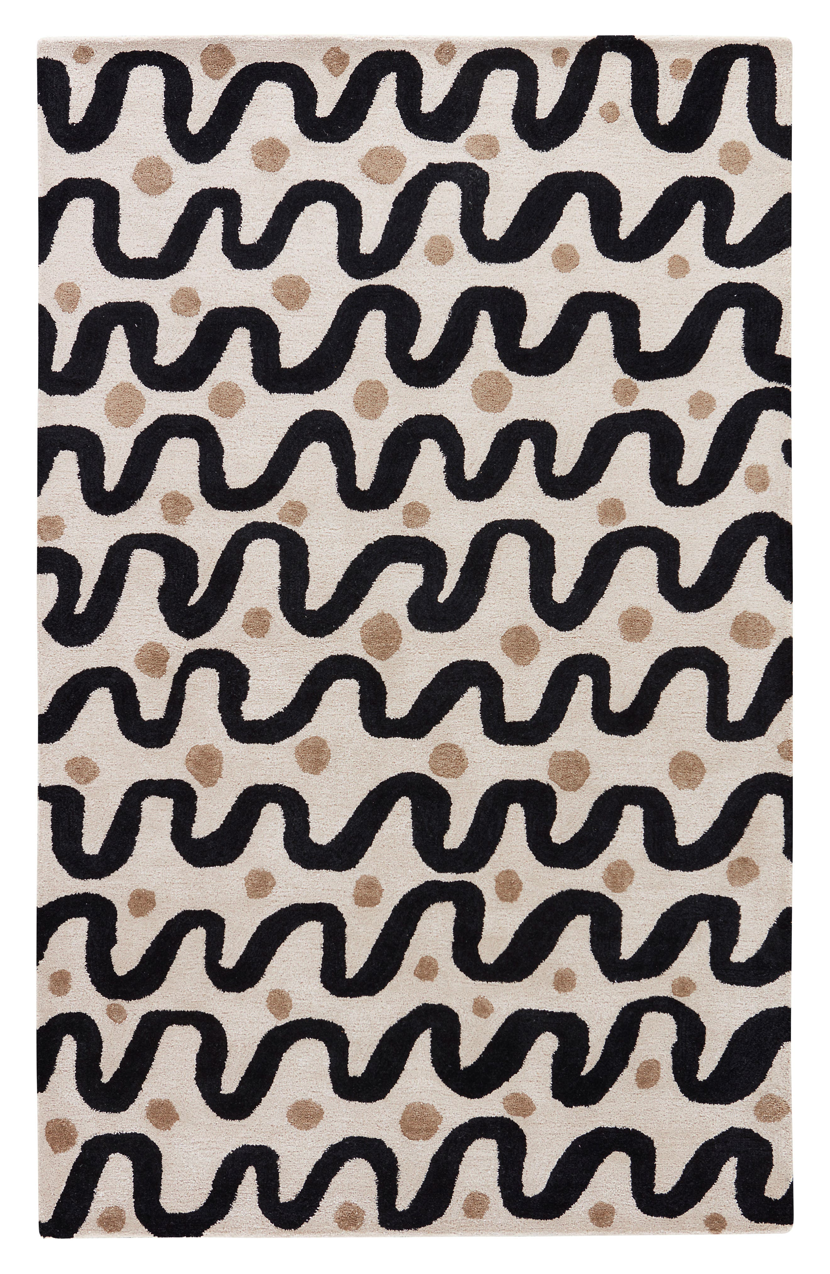 contemporary waves rug,                         Main,                         color, Beige