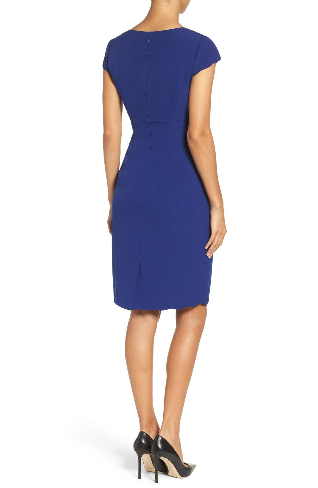 Alternate Image 2  - Adrianna Papell Scalloped Crepe Sheath Dress (Regular & Petite)