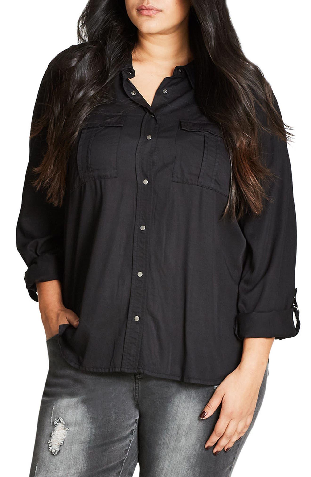 City Chic Walk About Lightweight Denim Shirt (Plus Size)
