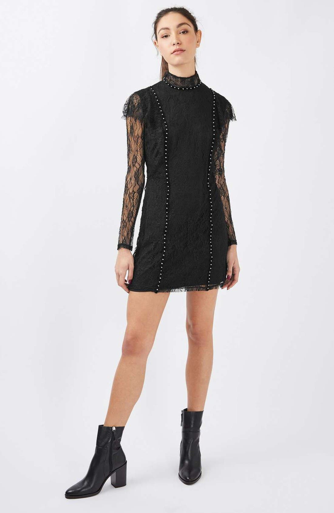 Alternate Image 2  - Topshop Stud Ruffle Lace Dress