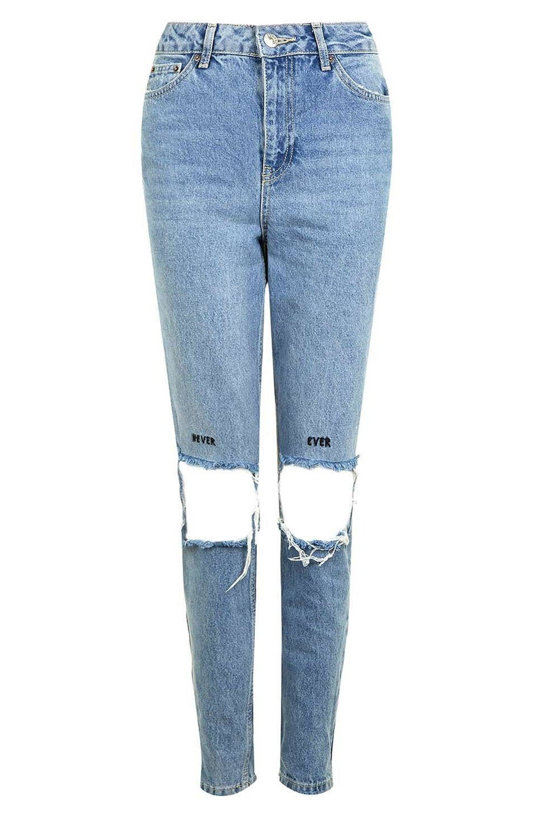 Alternate Image 4  - Topshop Embroidered Slogan Ripped Jeans
