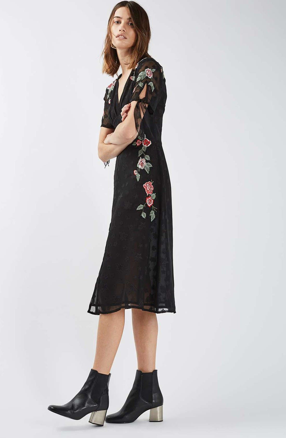 Alternate Image 2  - Topshop Embroidered Midi Dress