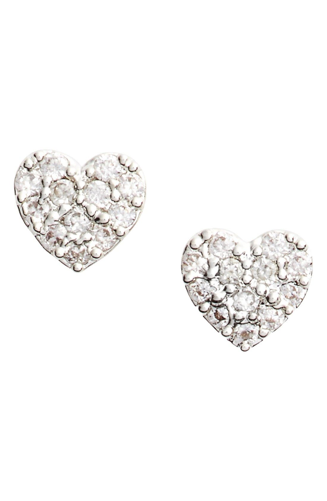 Shine Bright Heart Stud Earrings,                             Main thumbnail 1, color,                             Silver