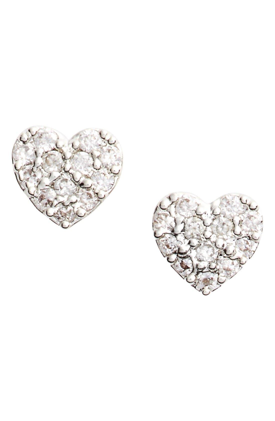 Shine Bright Heart Stud Earrings,                         Main,                         color, Silver