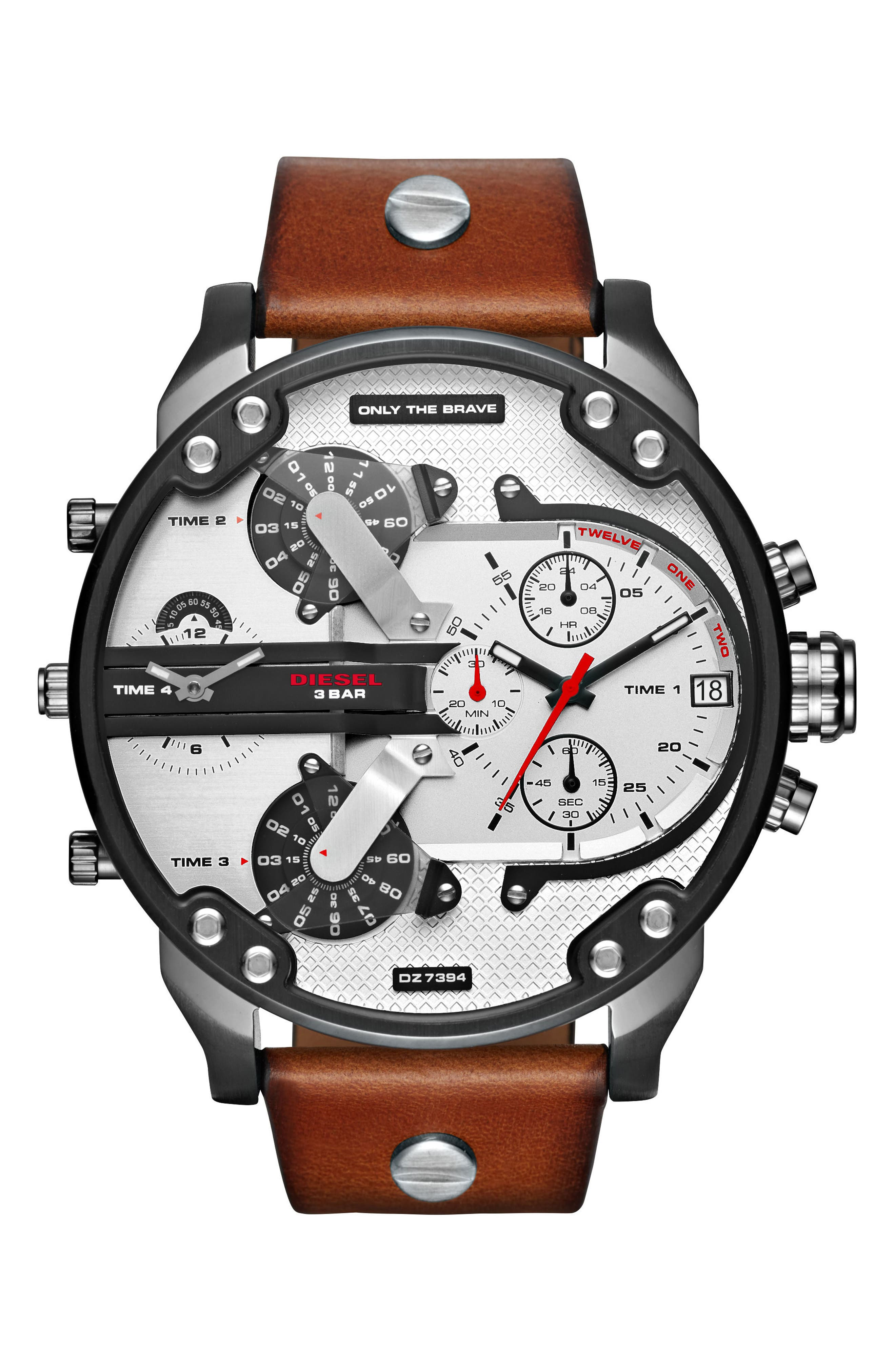 DIESEL<SUP>®</SUP> Mr. Daddy 2.0 Leather Strap Watch, 57mm