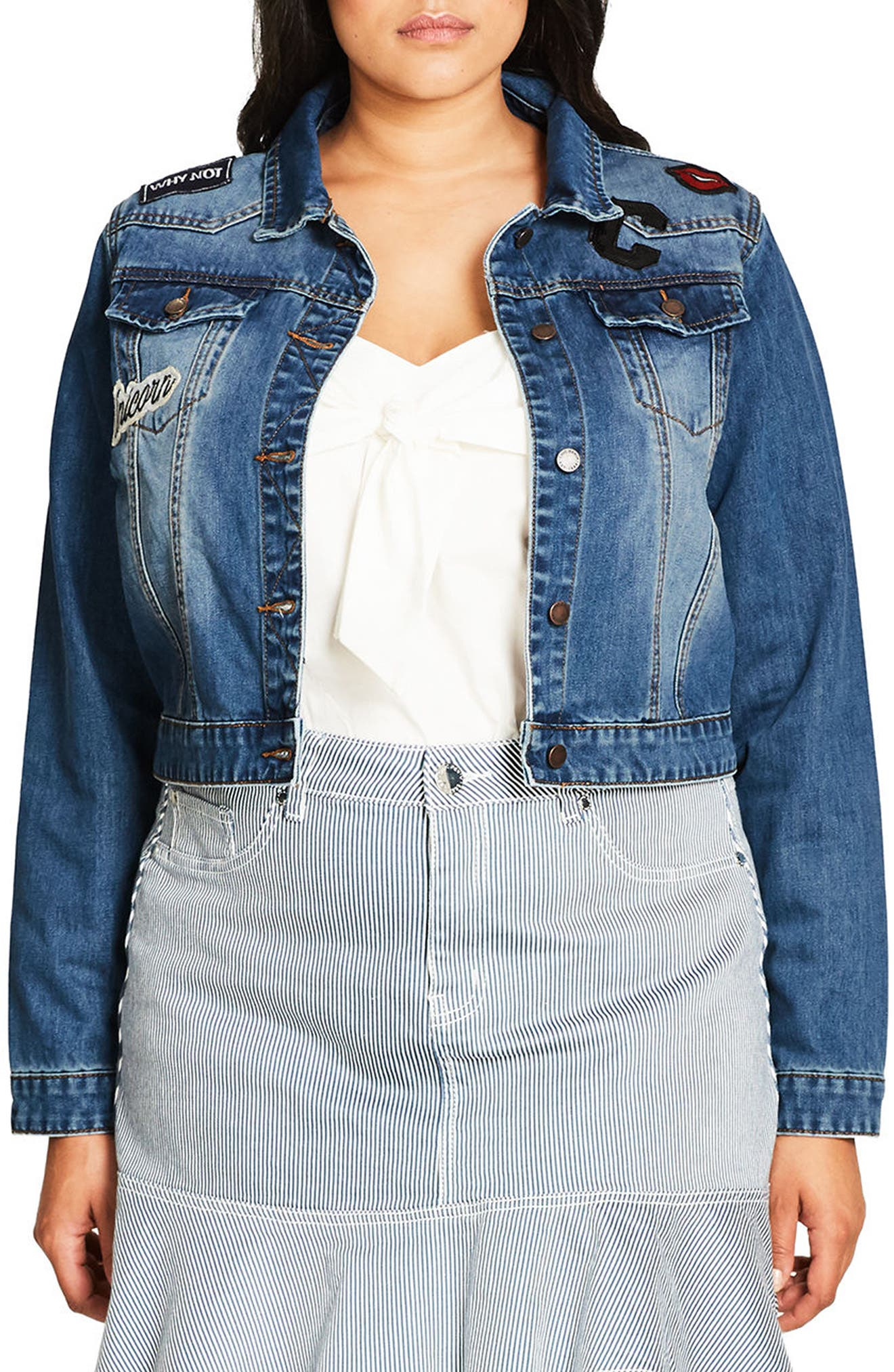 Alternate Image 1 Selected - City Chic '80s Patch Denim Jacket (Plus Size)