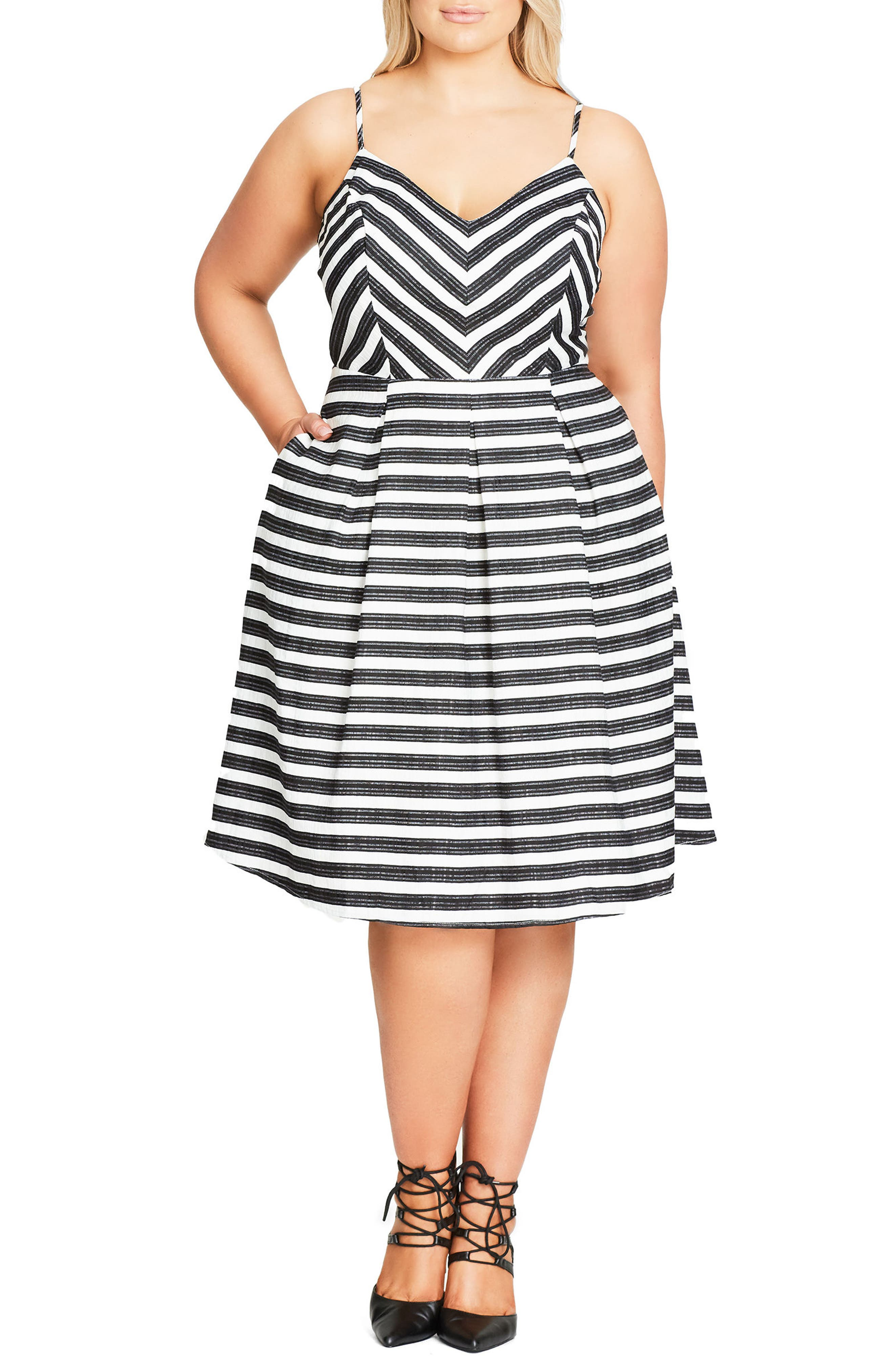 Alternate Image 1 Selected - City Chic Marilyn Stripe Fit & Flare Sundress (Plus Size)