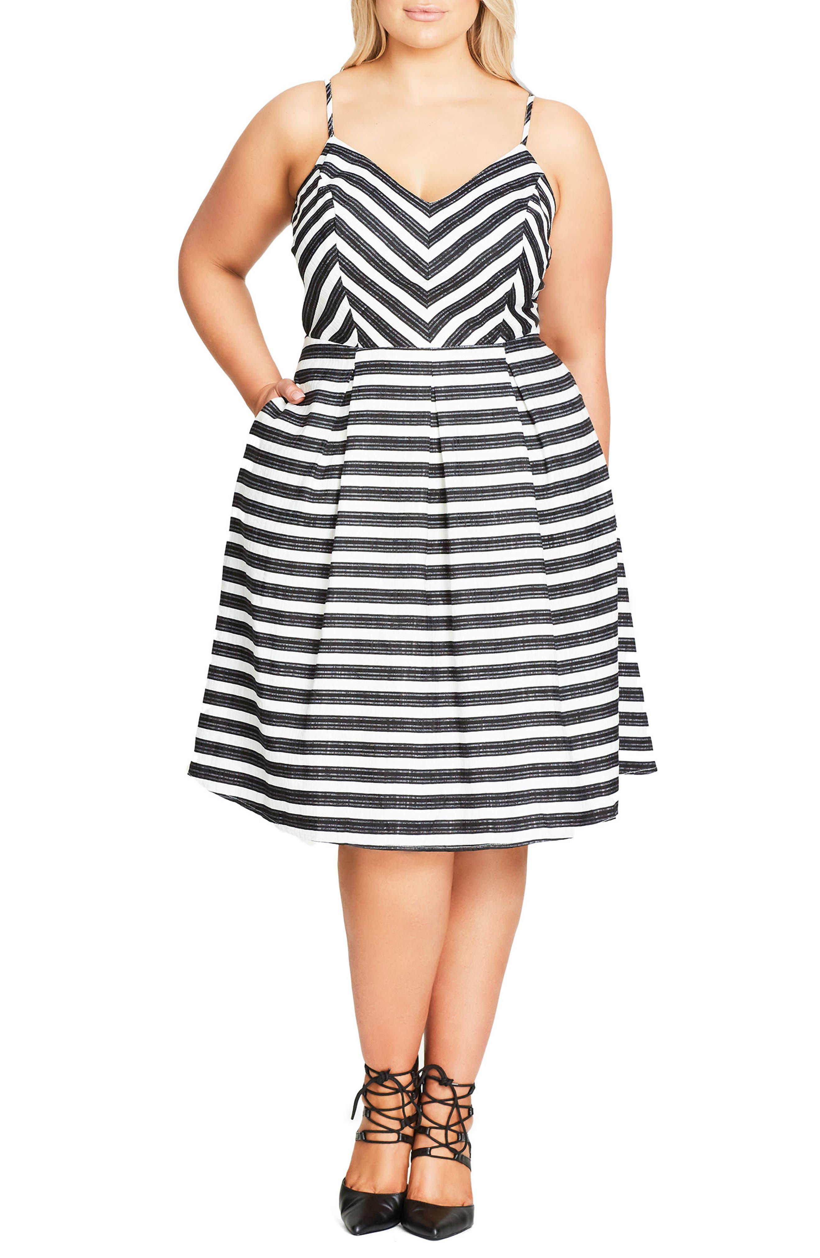 Marilyn Stripe Fit & Flare Sundress,                             Main thumbnail 1, color,                             Ivory