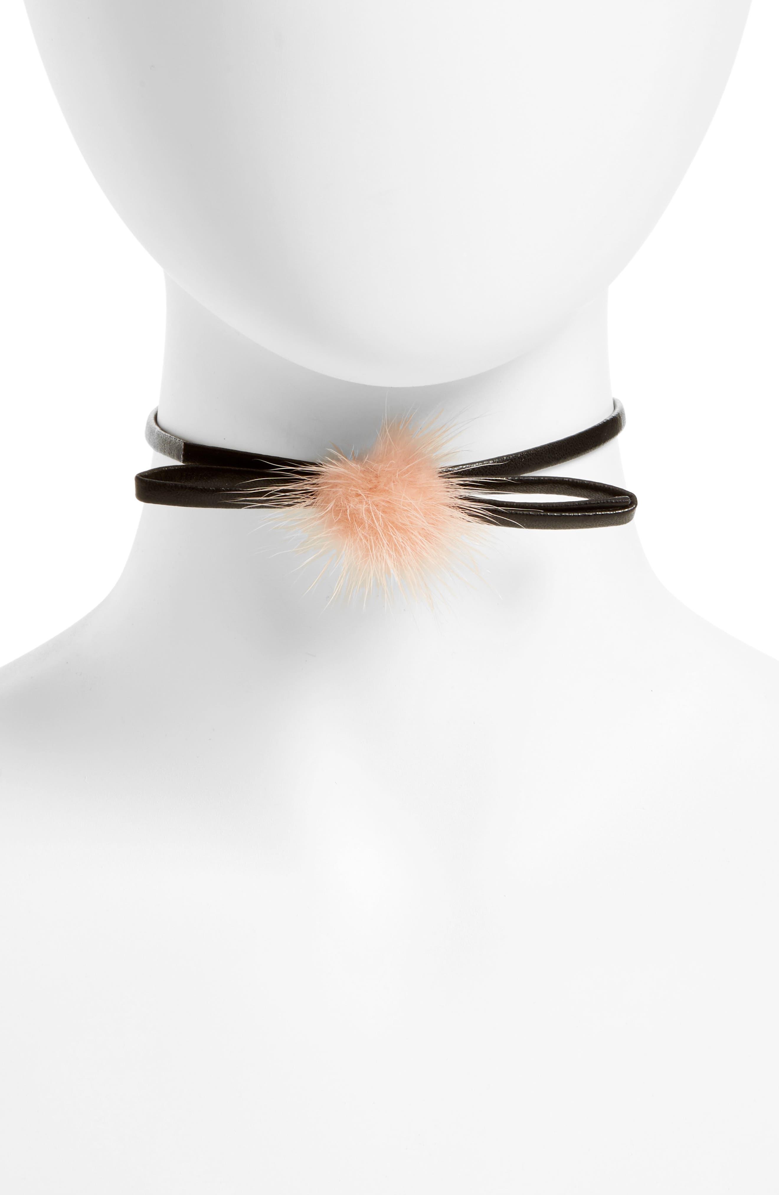 Main Image - Carole Bow Choker Necklace with Faux Fur Pompom
