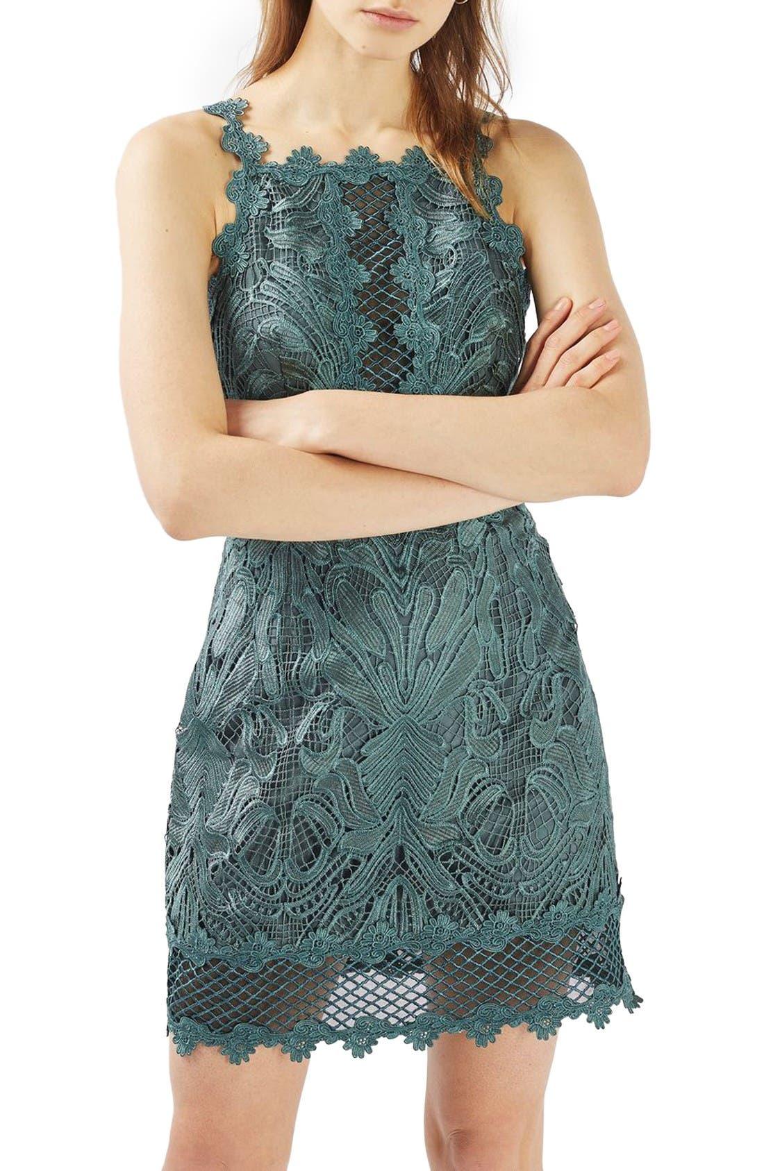 Main Image - Topshop Lace Detail Sleeveless A-Line Dress (Regular & Petite)