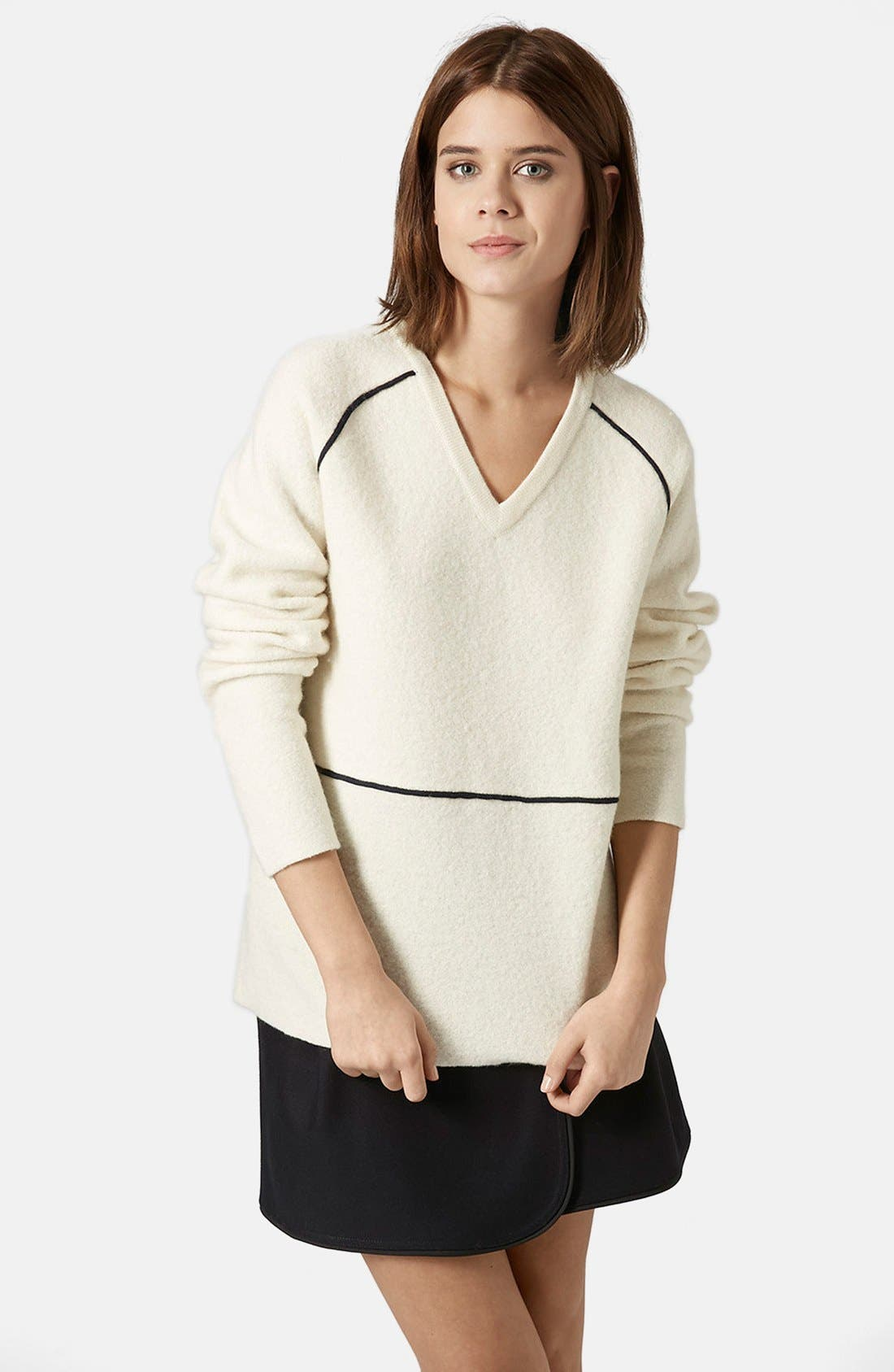 Alternate Image 1 Selected - Topshop Boutique V-Neck Merino Wool Sweater