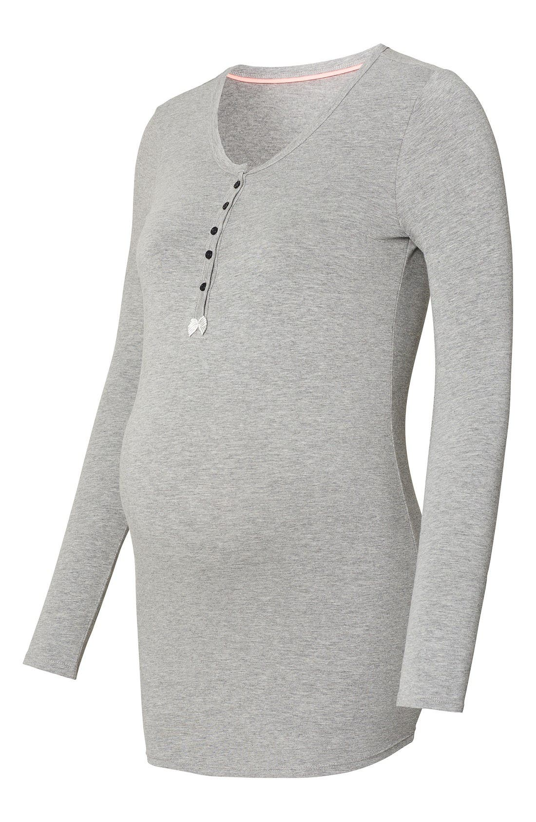 Feline Henley Maternity/Nursing Tee,                             Alternate thumbnail 4, color,                             Grey