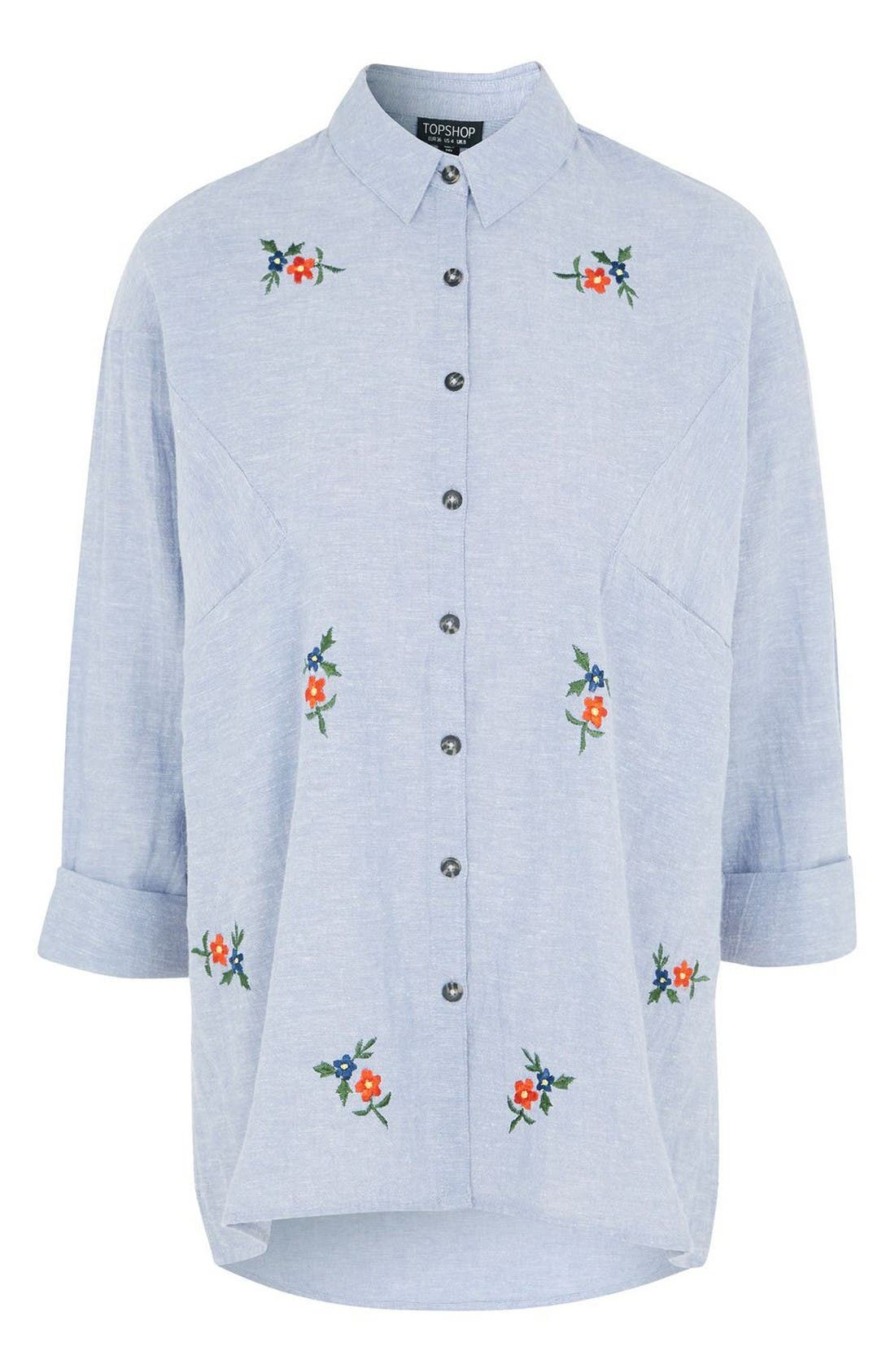 Embroidered Shirt,                             Alternate thumbnail 4, color,                             Blue Multi