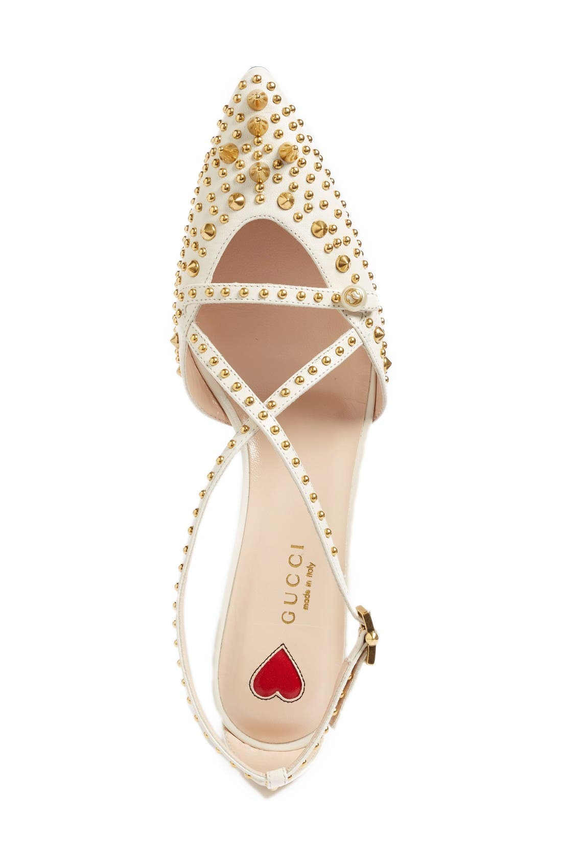Unia Studded Pump,                             Alternate thumbnail 3, color,                             White Leather
