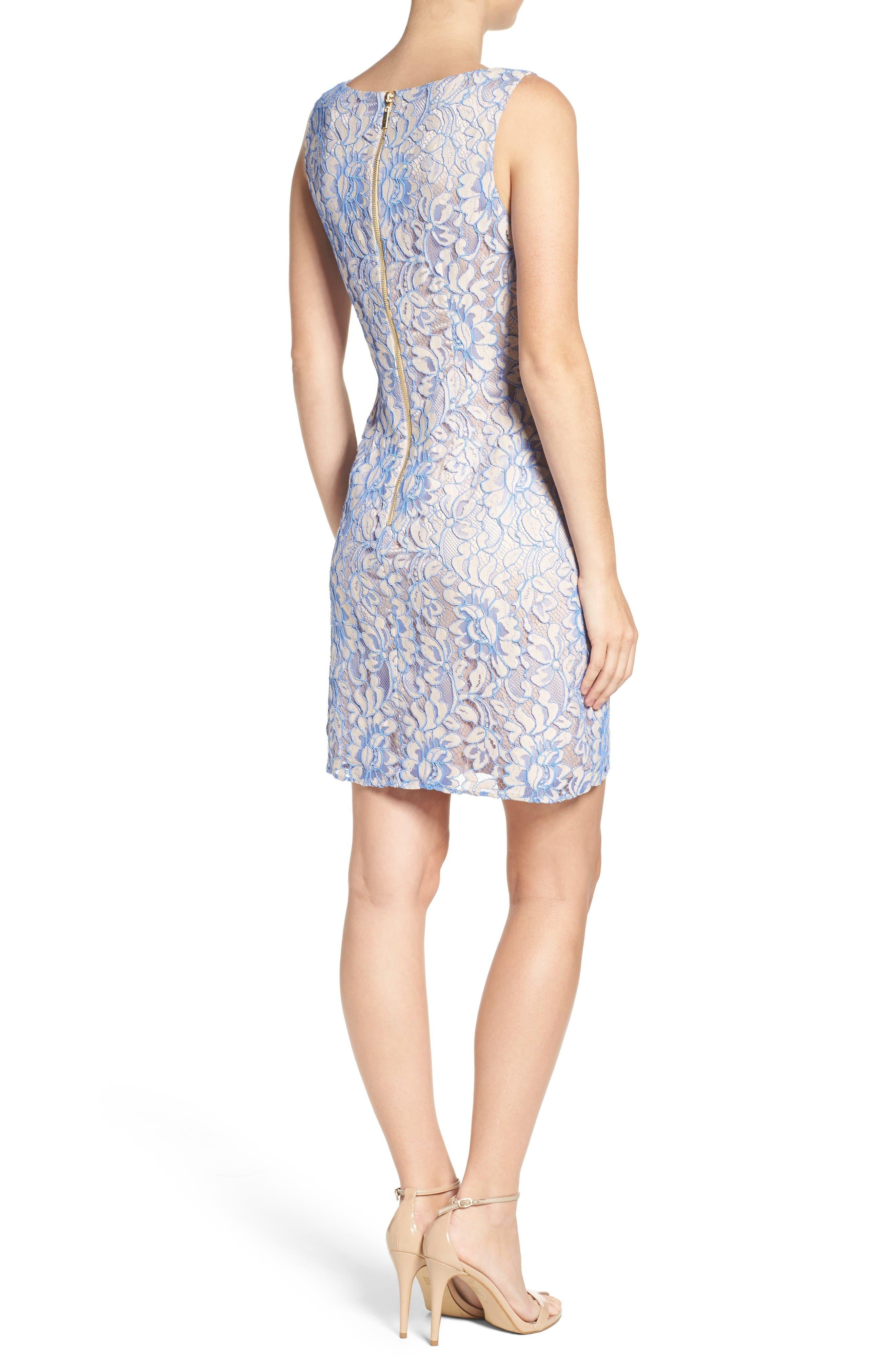Lace Shift Dress,                             Alternate thumbnail 2, color,                             Nude/ Blue