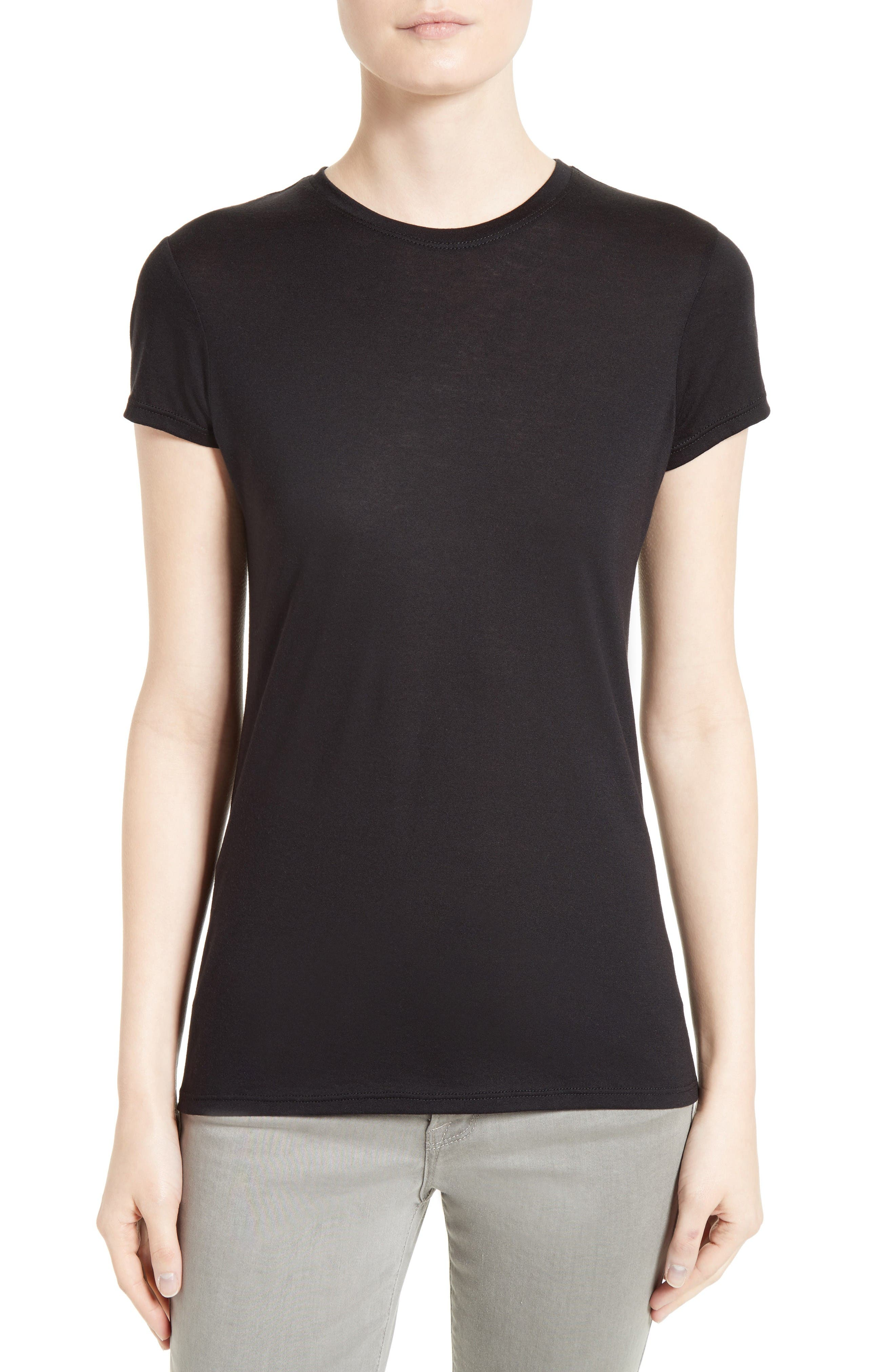 Cotton & Modal Fitted Tee,                             Main thumbnail 1, color,                             Black