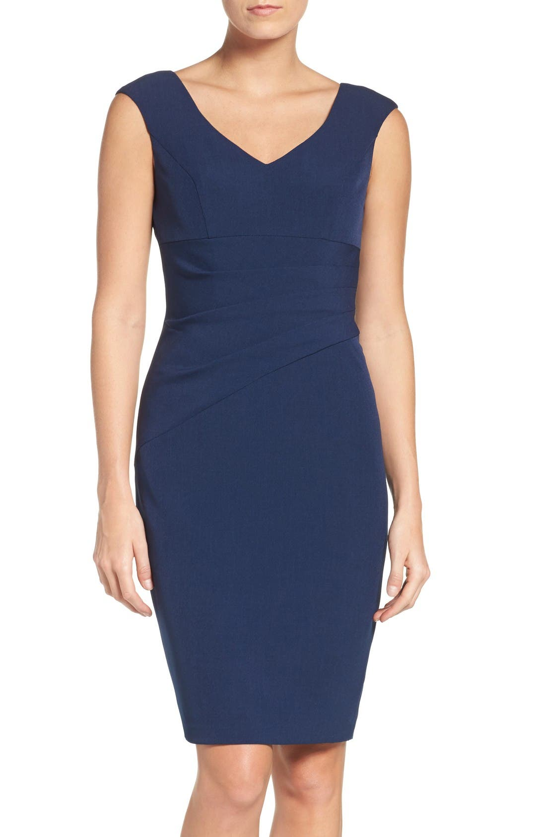 Crepe Sheath Dress,                             Main thumbnail 1, color,                             Dusk