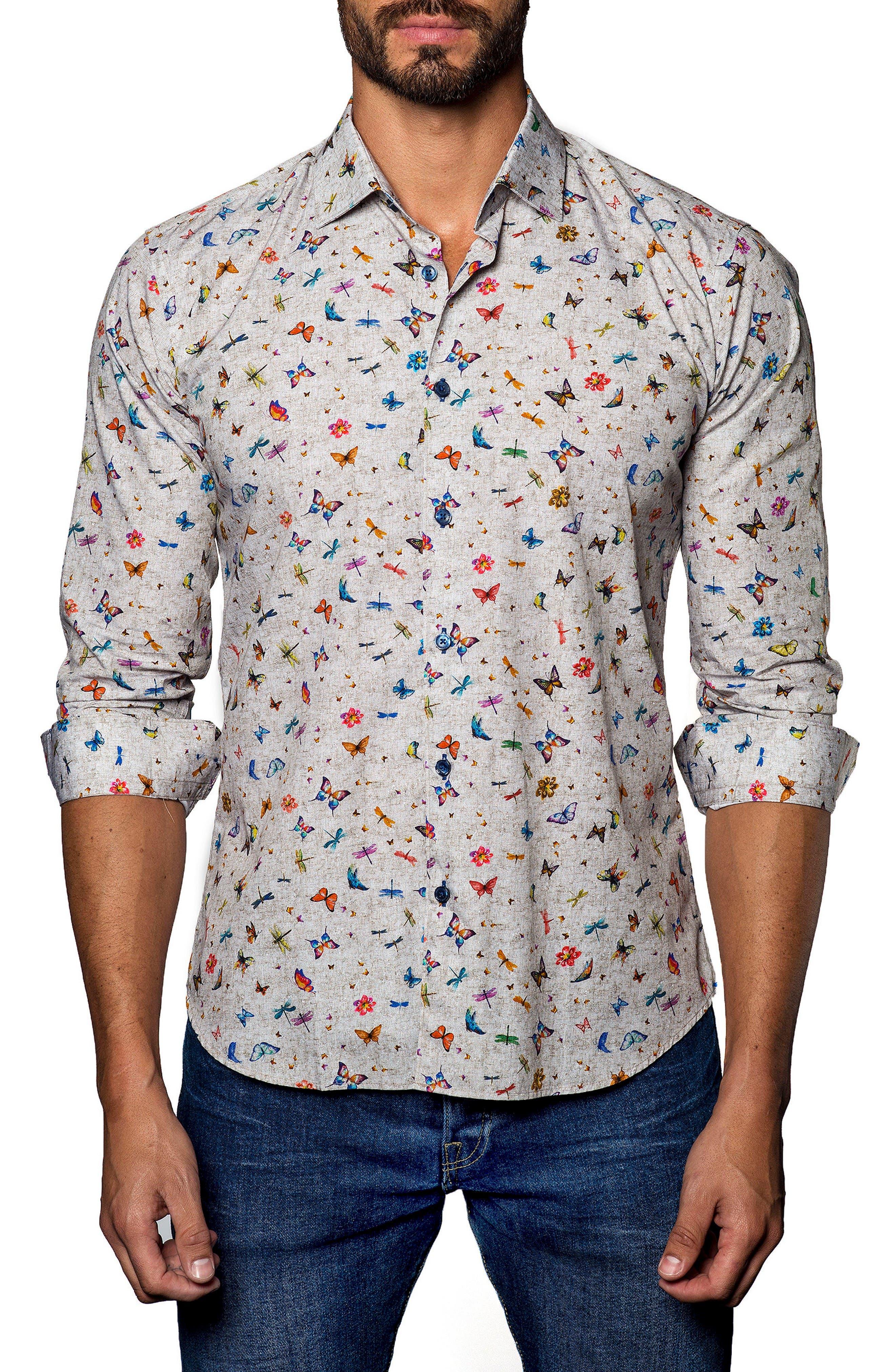 Trim Fit Sport Shirt,                         Main,                         color, Tan Butterfly