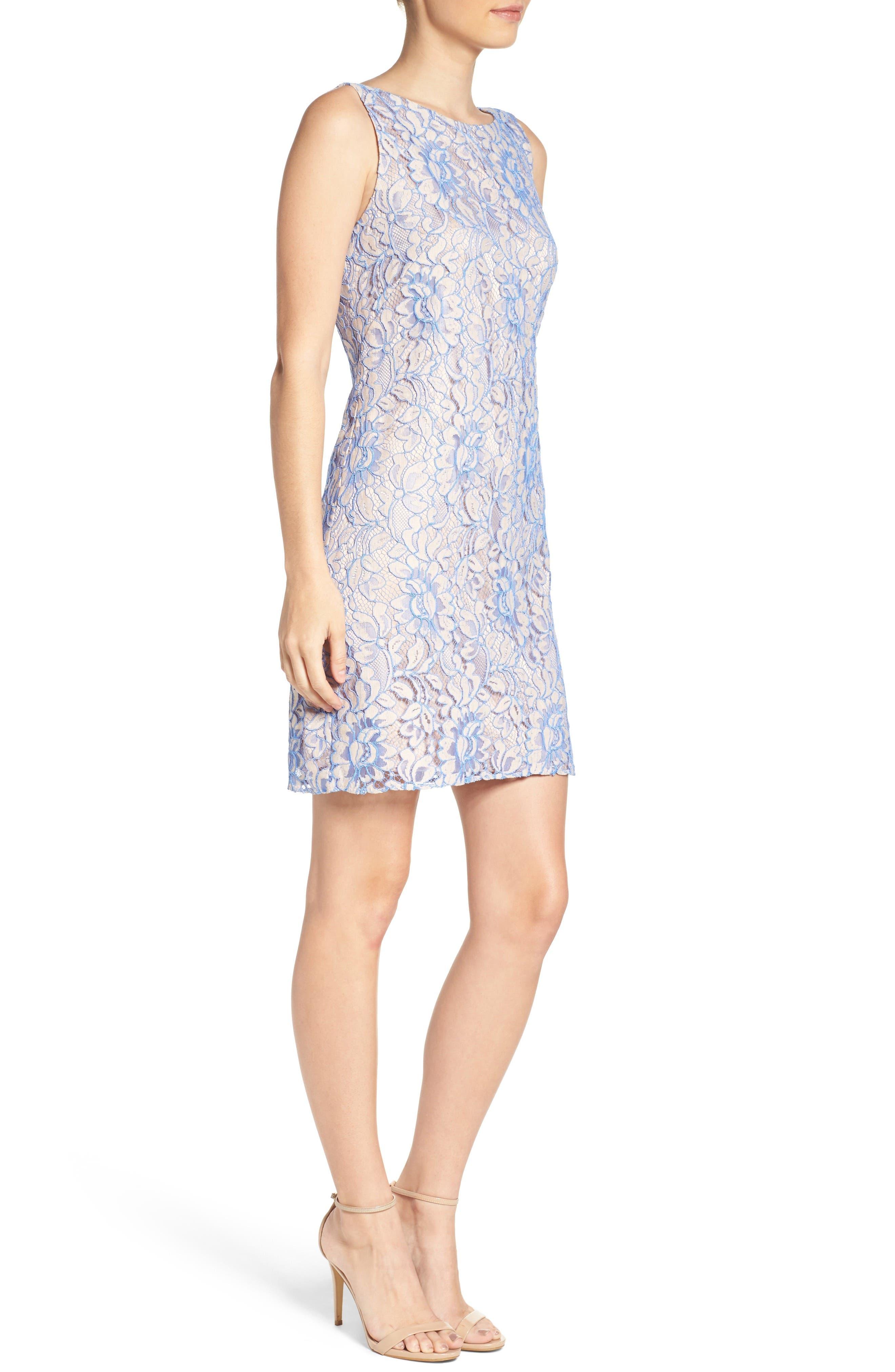 Lace Shift Dress,                             Alternate thumbnail 5, color,                             Nude/ Blue