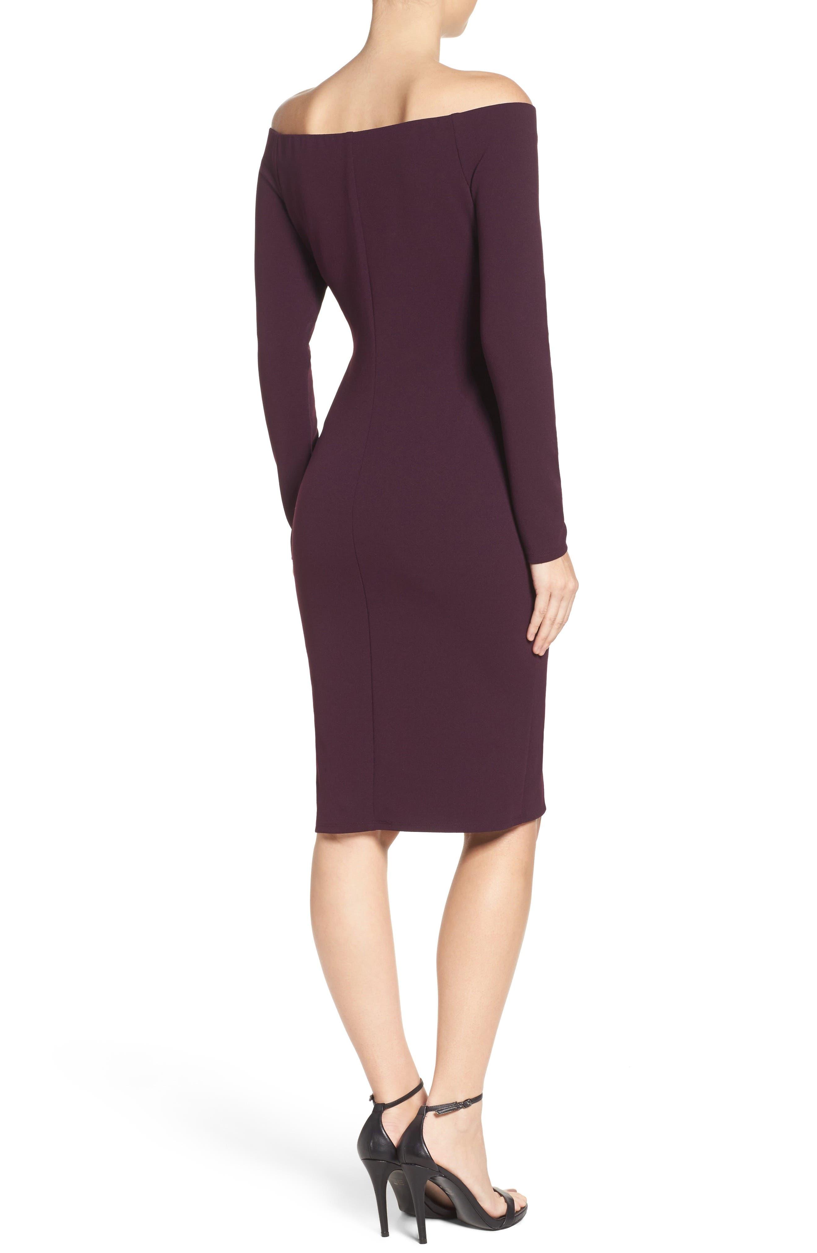 Alternate Image 2  - Eliza J Off the Shoulder Scuba Sheath Dress (Regular & Petite)