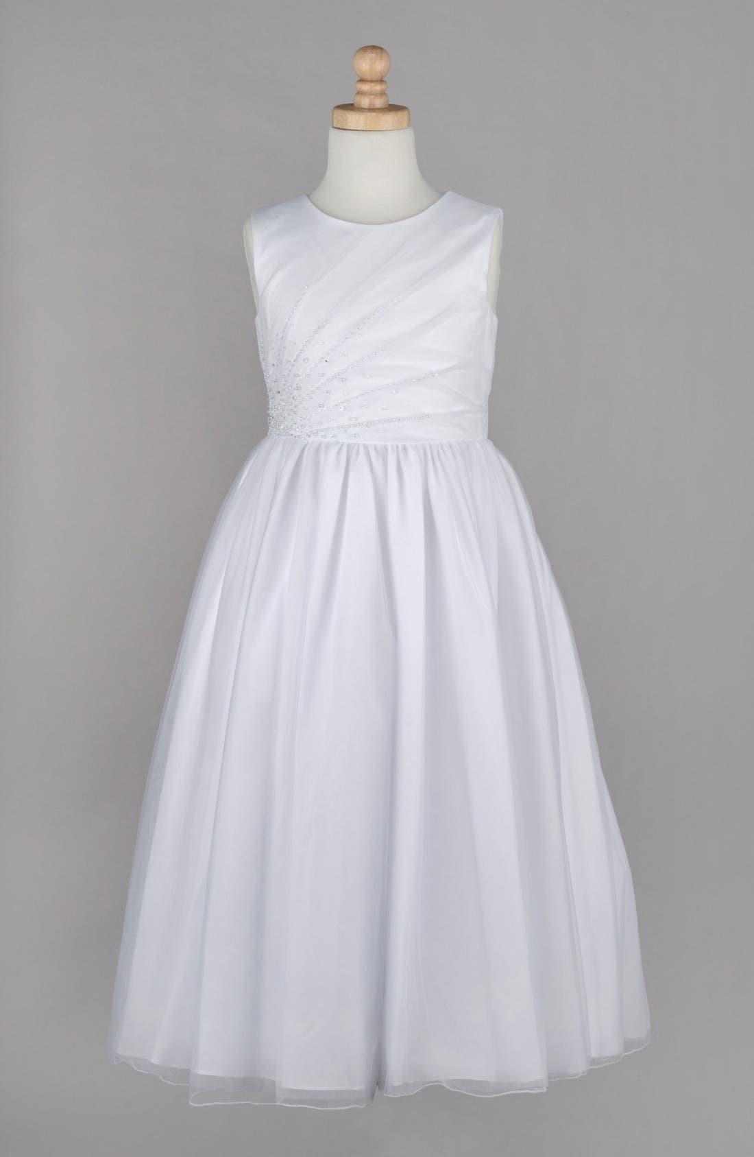Alternate Image 1 Selected - Lauren Marie Beaded First Communion Dress (Little Girls & Big Girls)