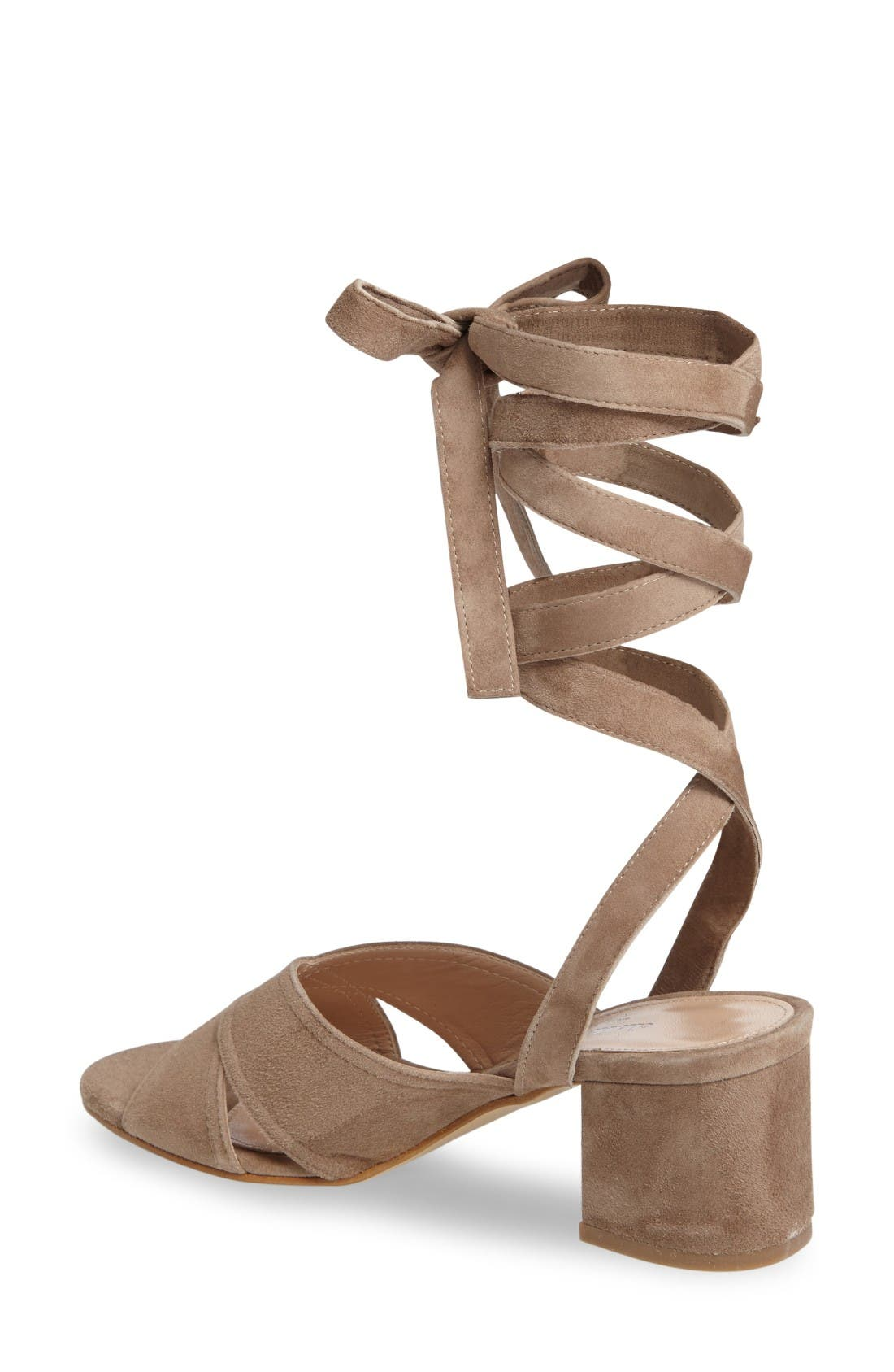 Blossom Wraparound Sandal,                             Alternate thumbnail 2, color,                             Truffle Suede