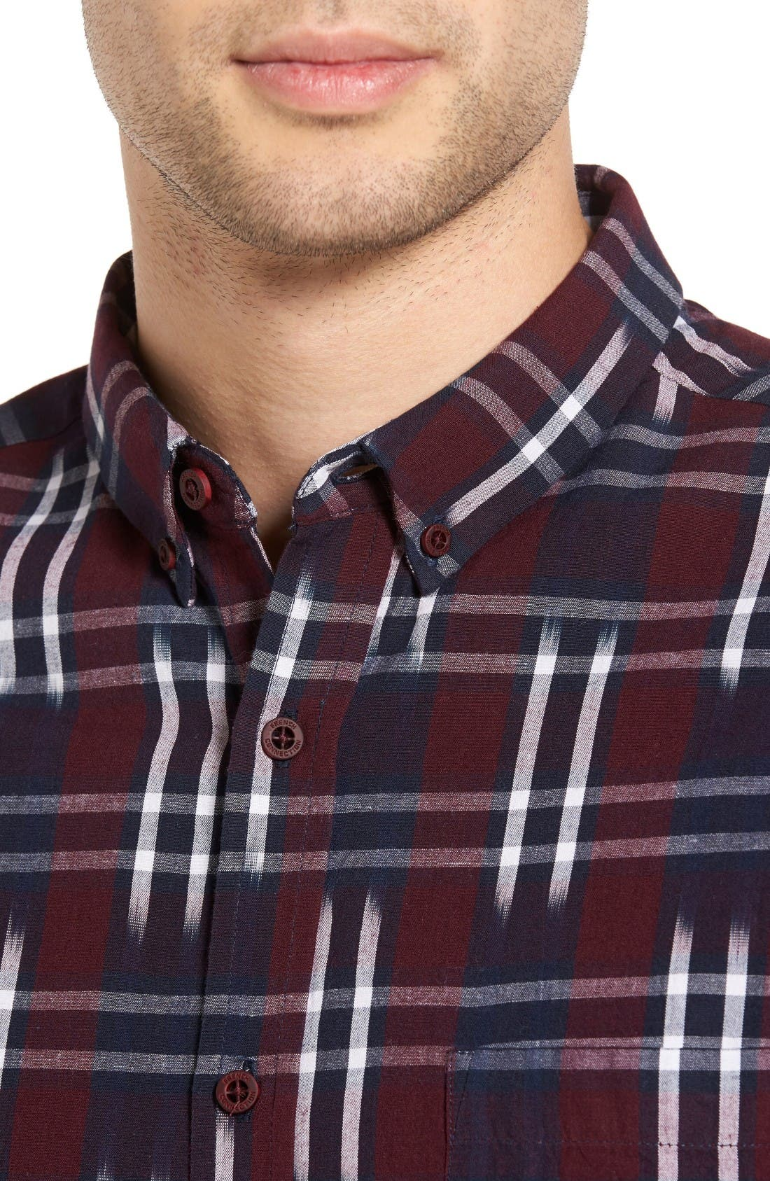 Alternate Image 4  - French Connection Slim Fit Ikat Check Sport Shirt
