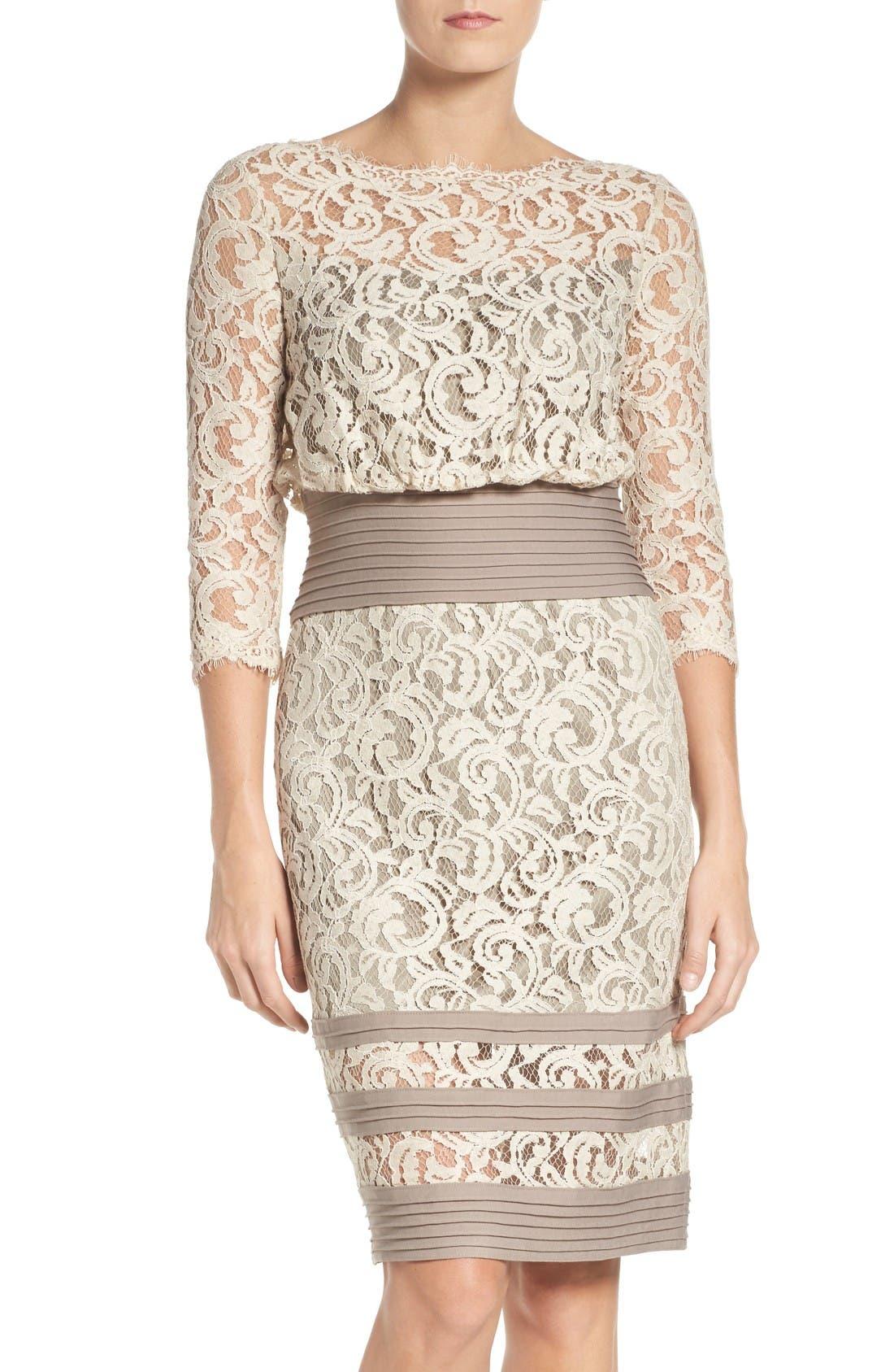 Pleat Waist Lace Blouson Dress,                         Main,                         color, Latte/ Pumice
