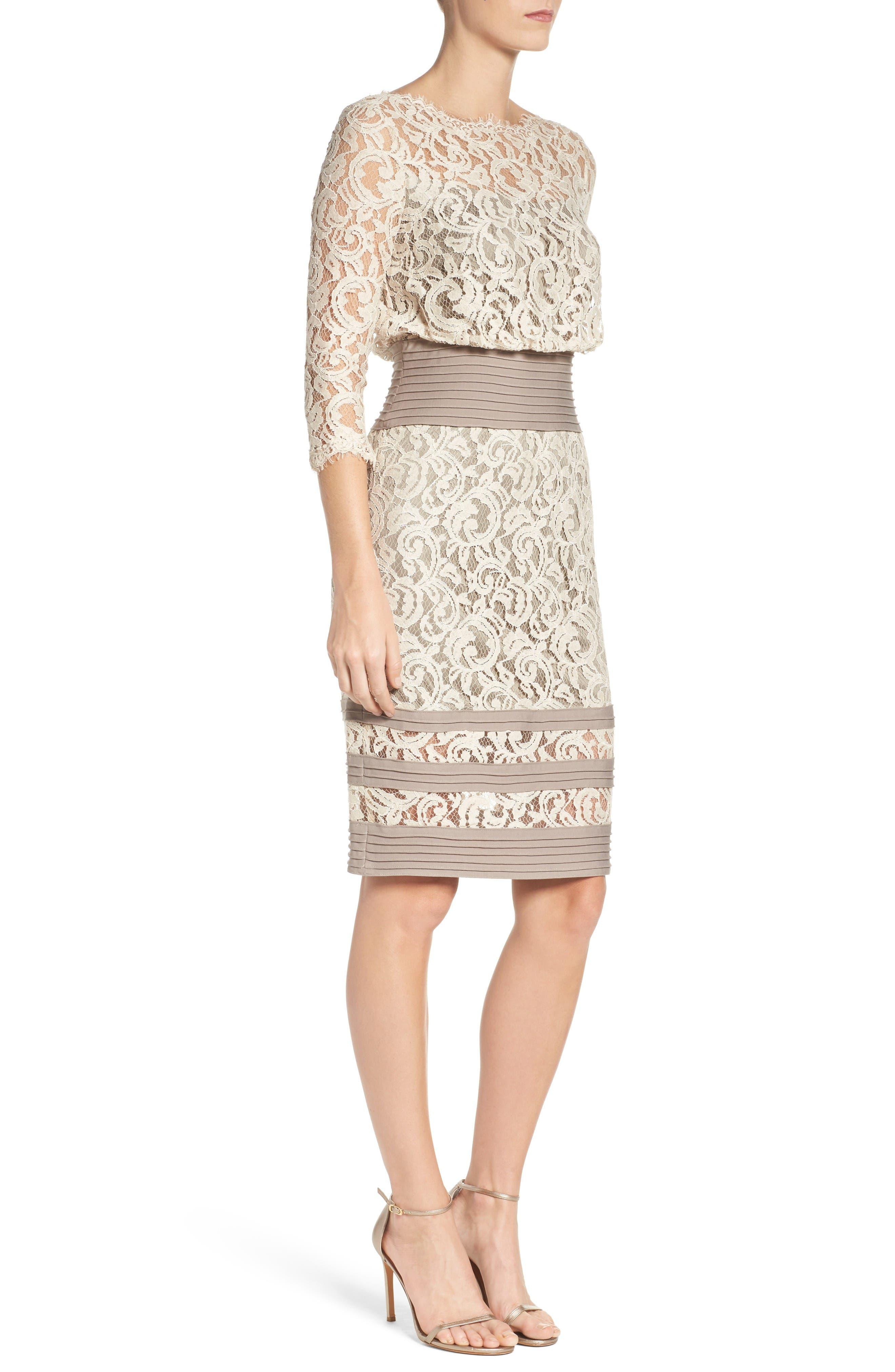 Alternate Image 4  - Tadashi Shoji Pleat Waist Lace Blouson Dress