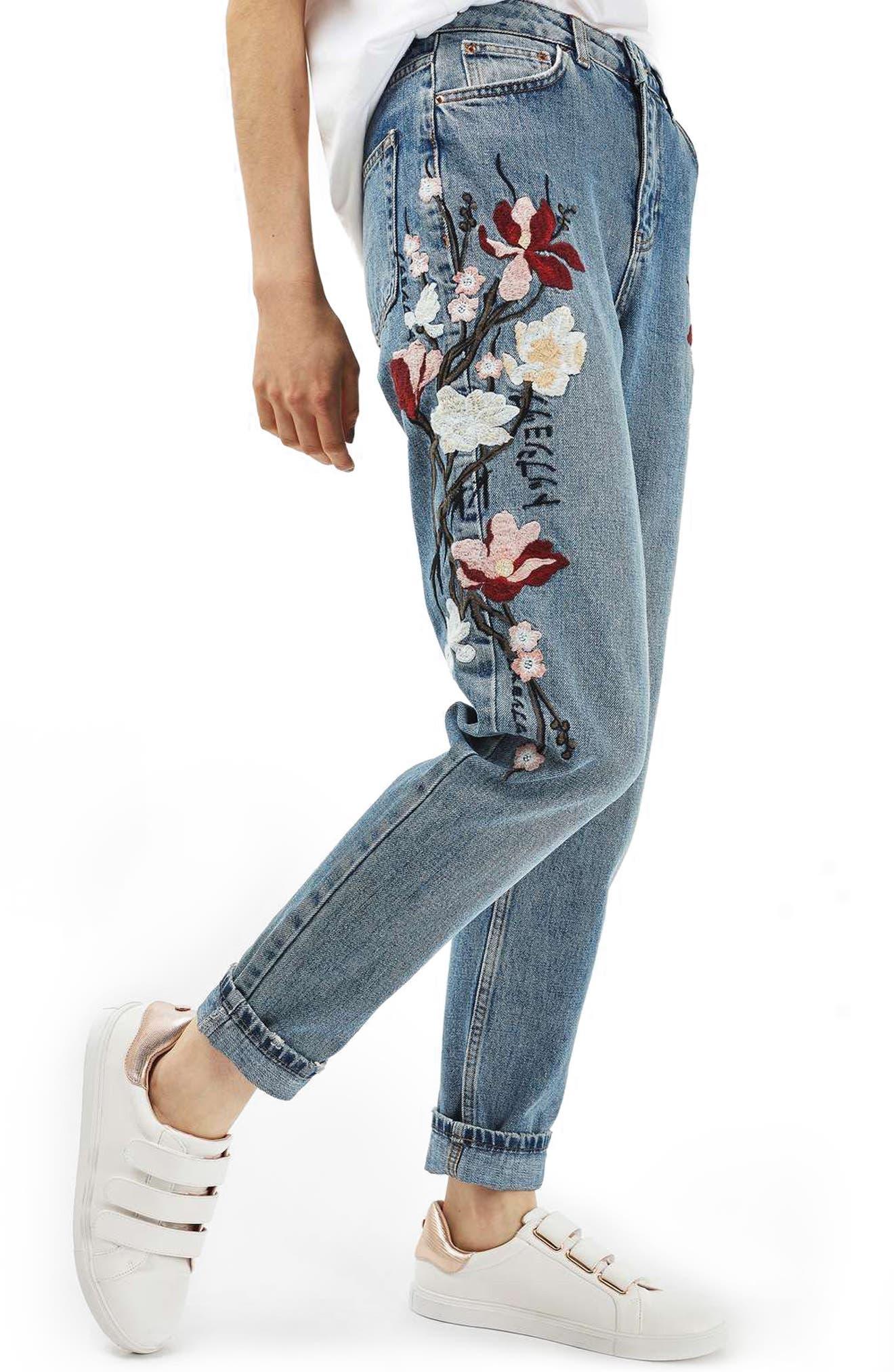 Topshop Mom Embroidered Jeans Nordstrom