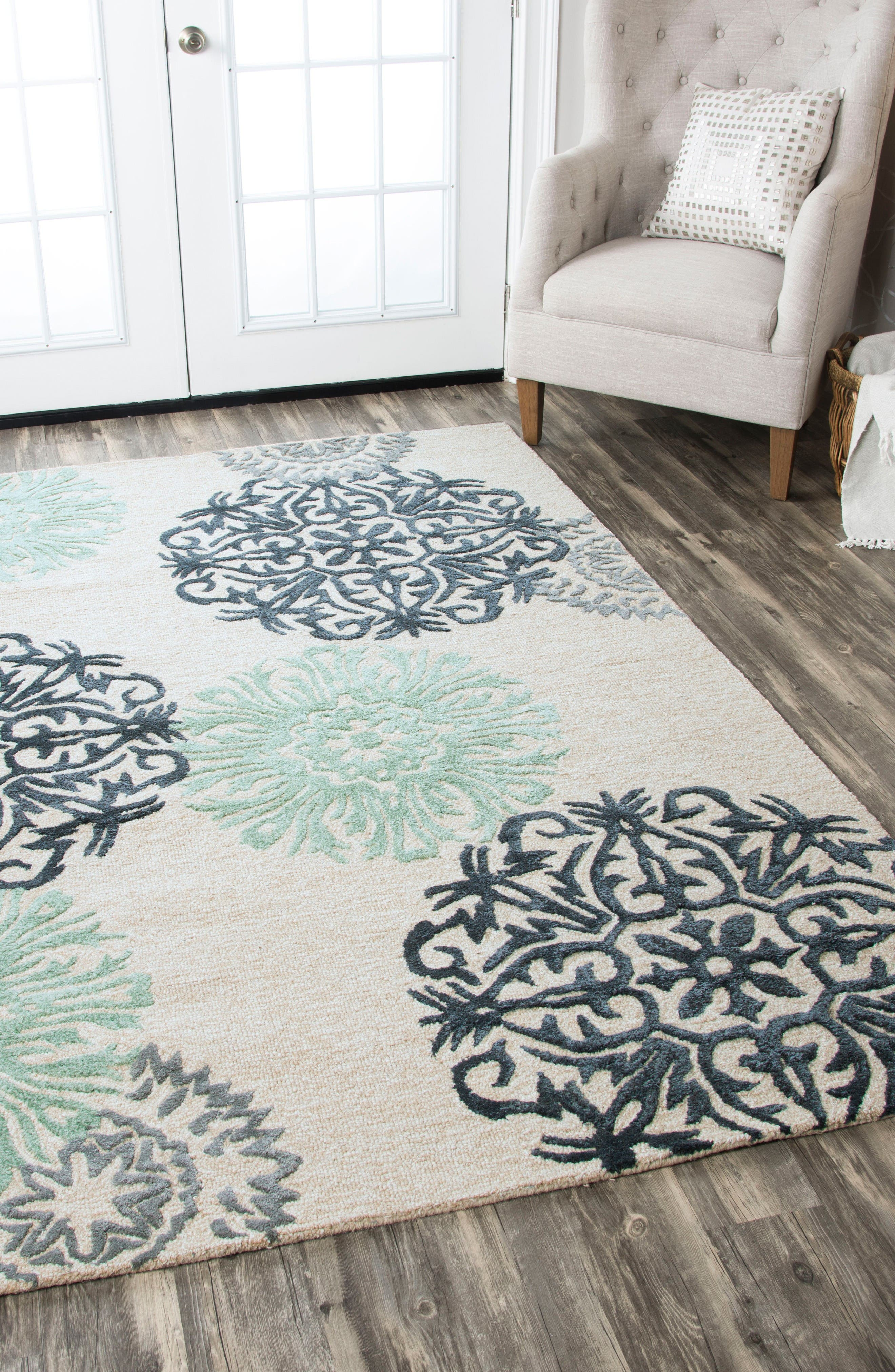 'Eden Harbor' Hand Tufted Wool Area Rug,                             Alternate thumbnail 4, color,                             Navy/ Aqua/ Grey